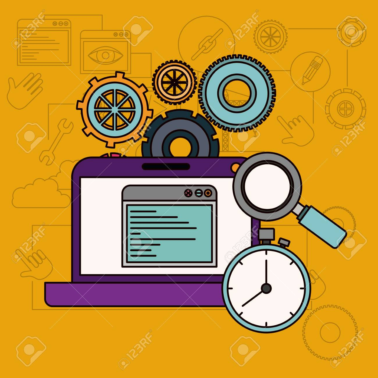 background with laptop computer and search timer vector illustration
