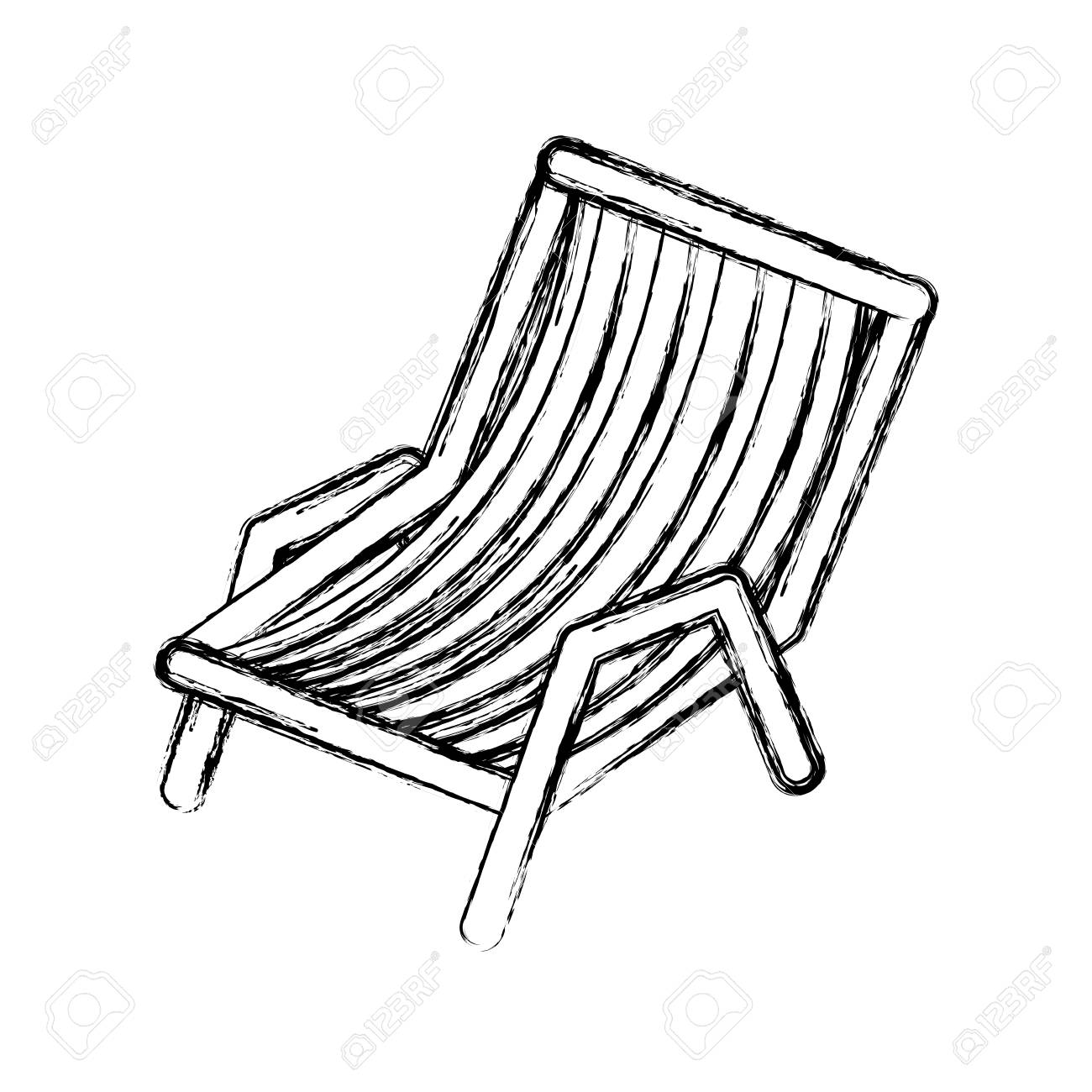 blurred thick silhouette of beach chair vector illustration