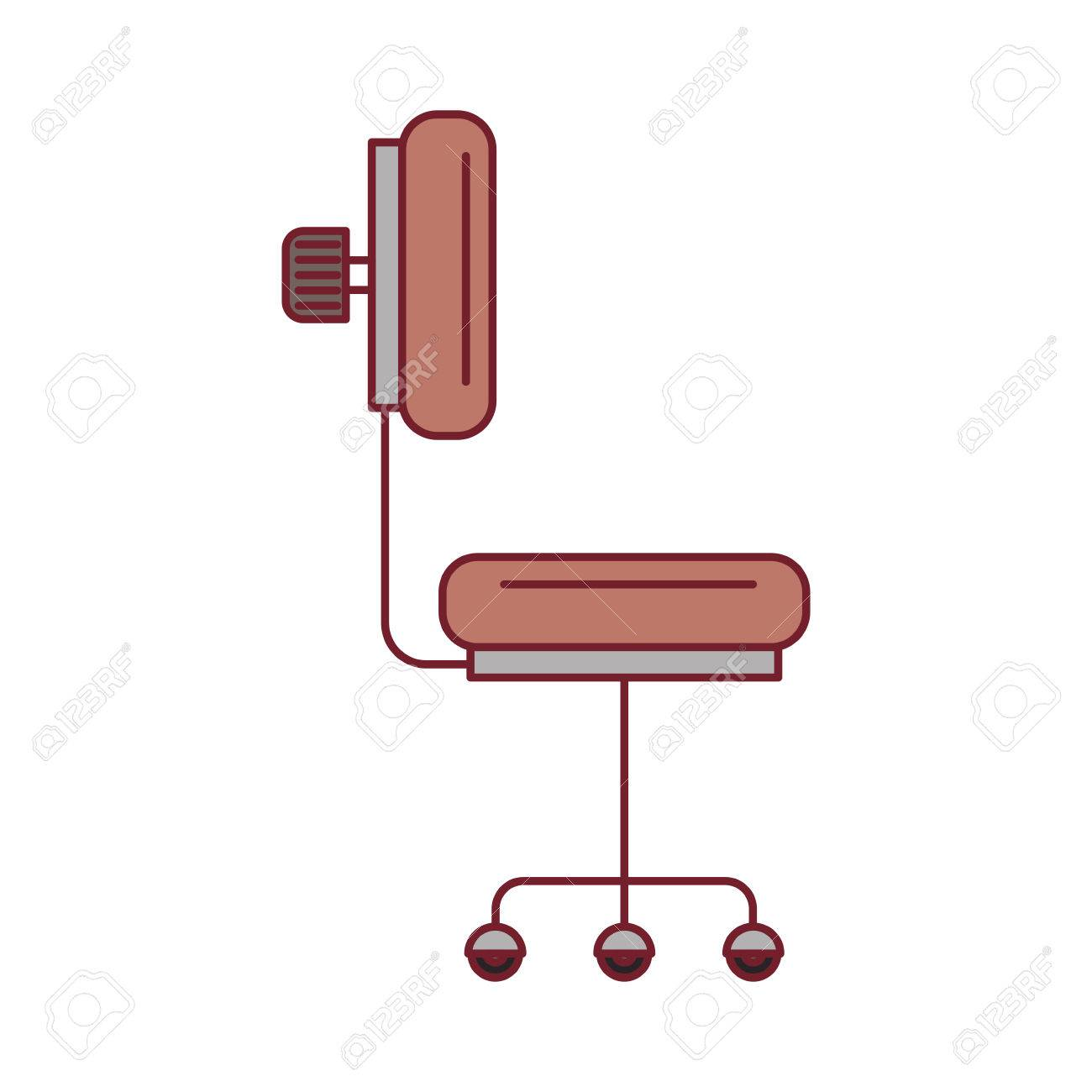 Colorful Graphic Of Office Chair Side View With Dark Red Line ... for office chair vector side view  269ane