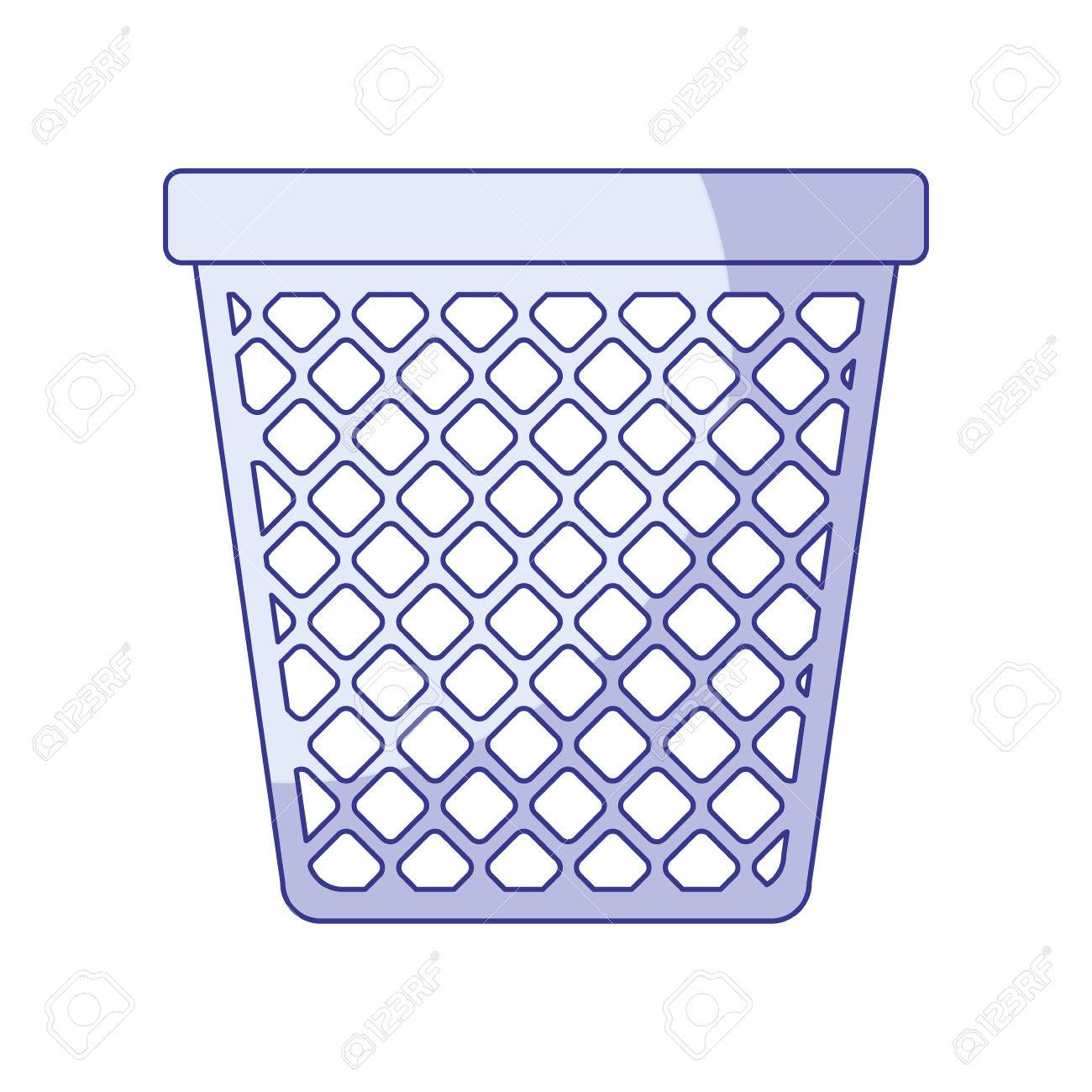 Blue Shading Silhouette Of Office Trash Can Vector Illustration Stock  Vector   79563139