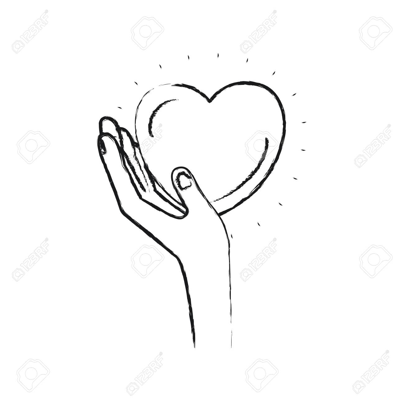 Blurred Silhouette Left Hand Holding In Palm A Heart Charity