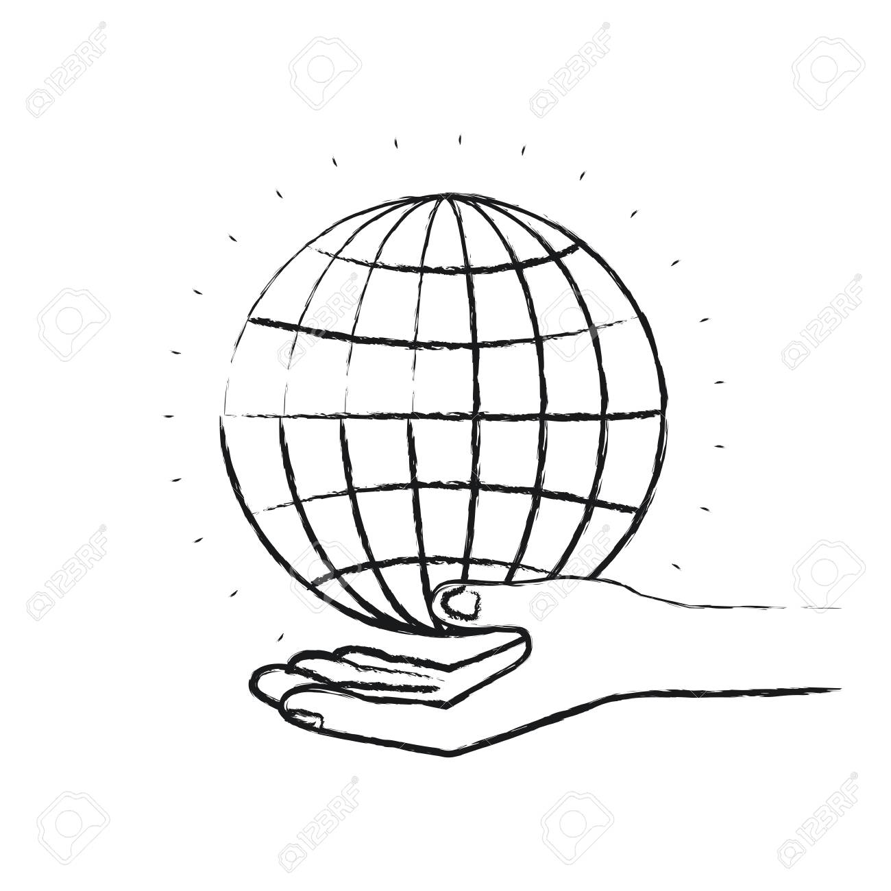 A Blurred Silhouette Hand Palm Giving A Globe Chart Charity Symbol
