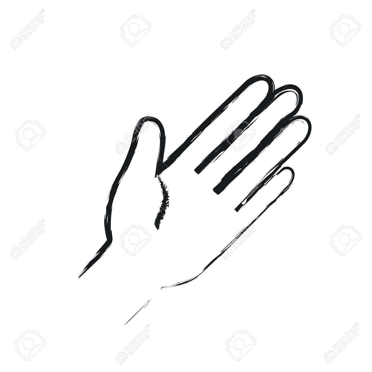 Blurred Silhouette Front View Palm Of Hand In Greeting Symbol