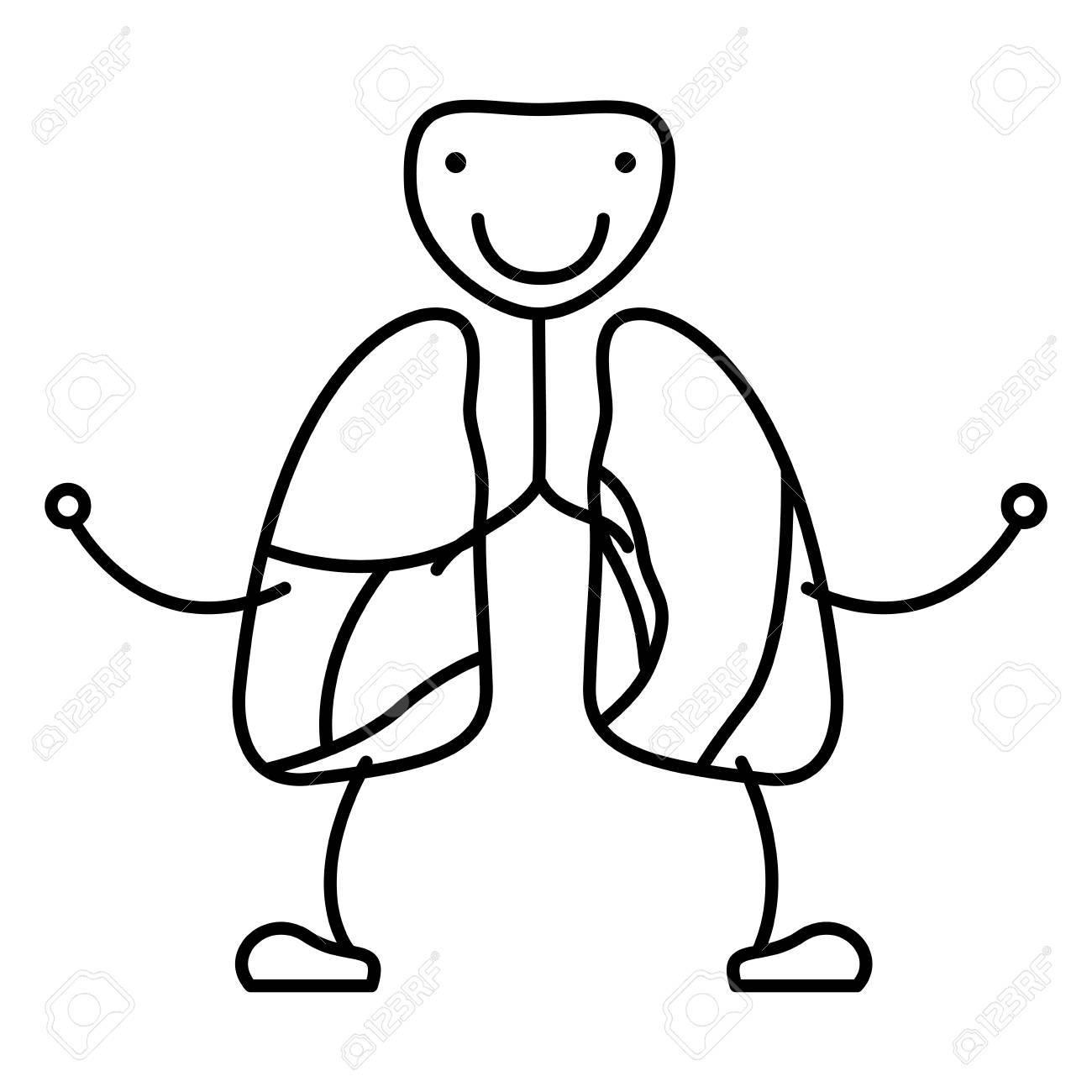 Dibujo A Mano Contorno Caricatura Sistema Respiratorio Con ...