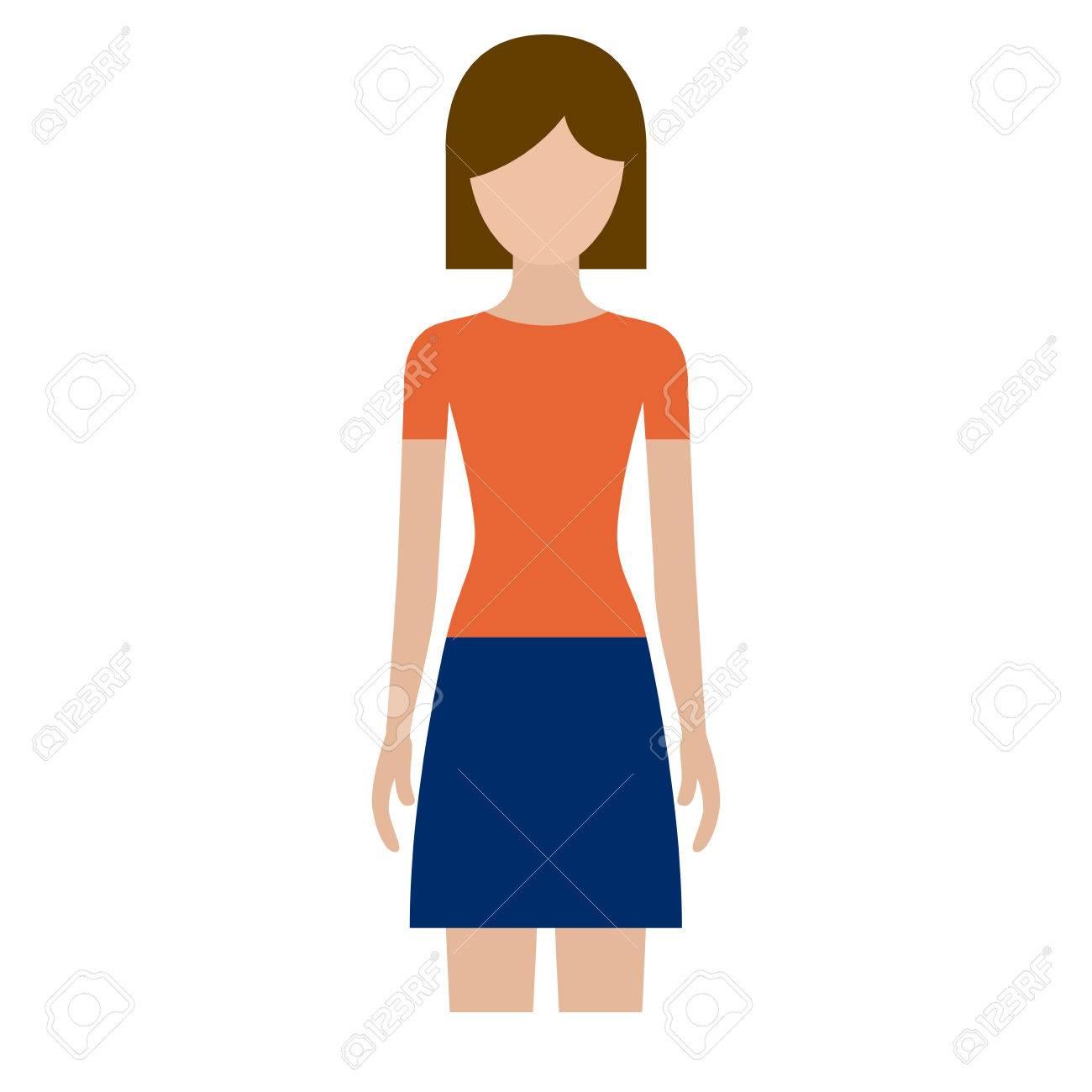 スカートや短い髪ベクトル イラストでカラフルなシルエット正面顔女性の
