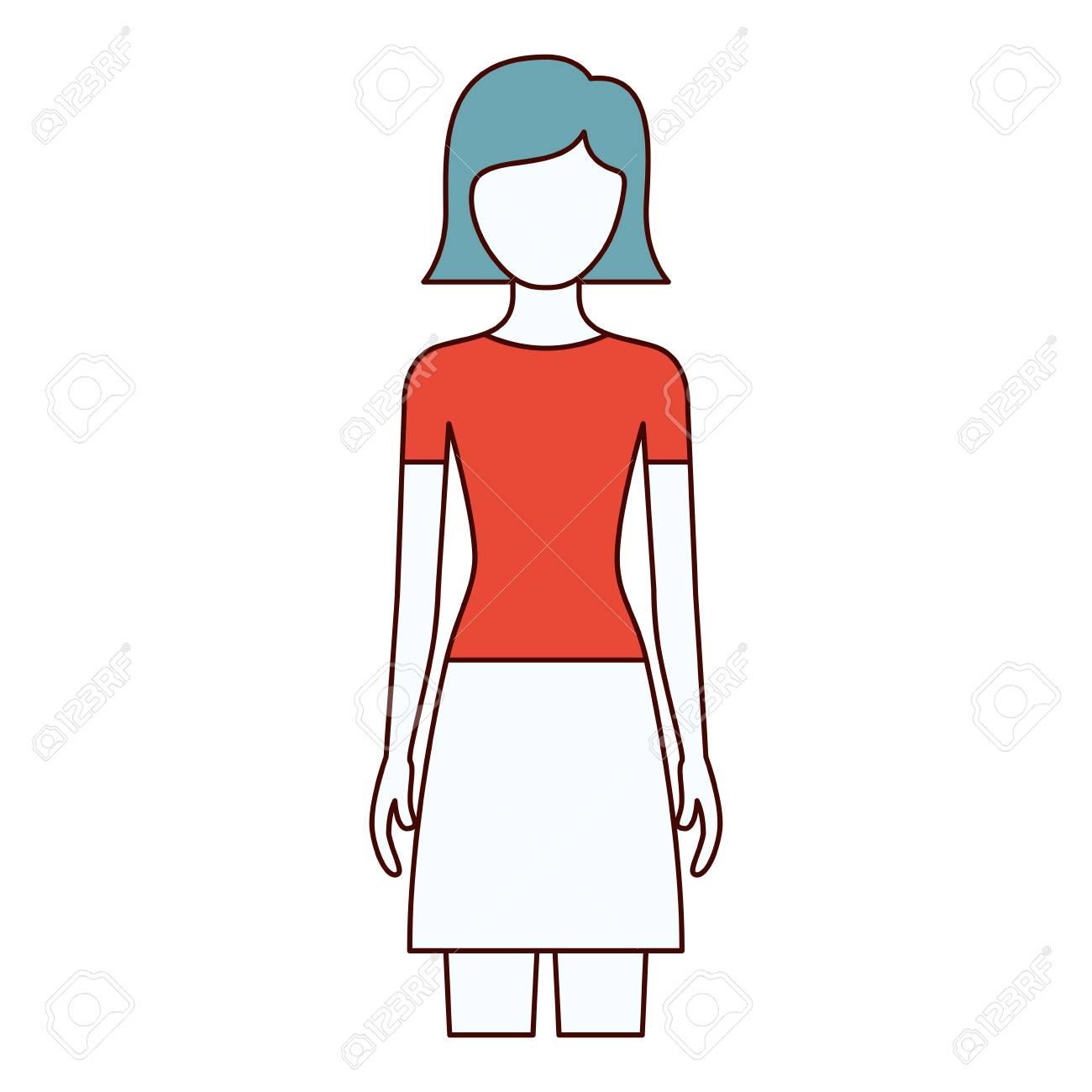 色セクションのシルエットのスカートと短いストレート髪型ベクトル