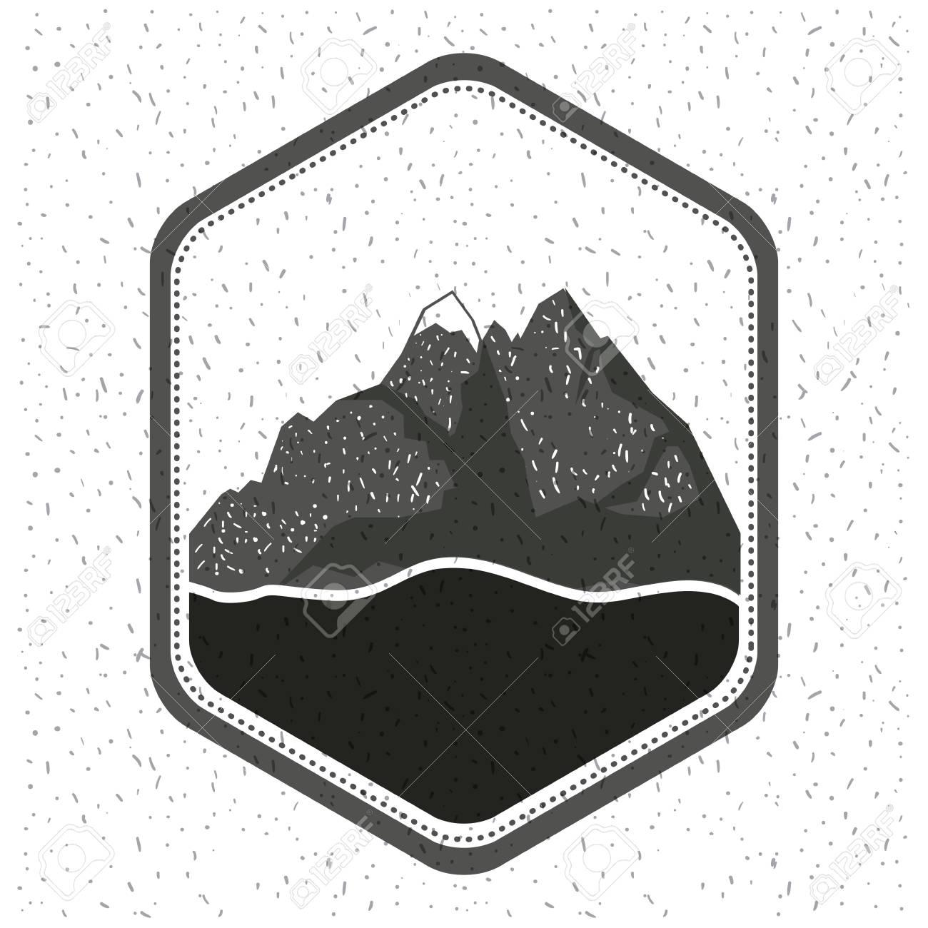 白の背景に山と川のベクトル イラスト モノクロ シルエットのエンブレムの輝き