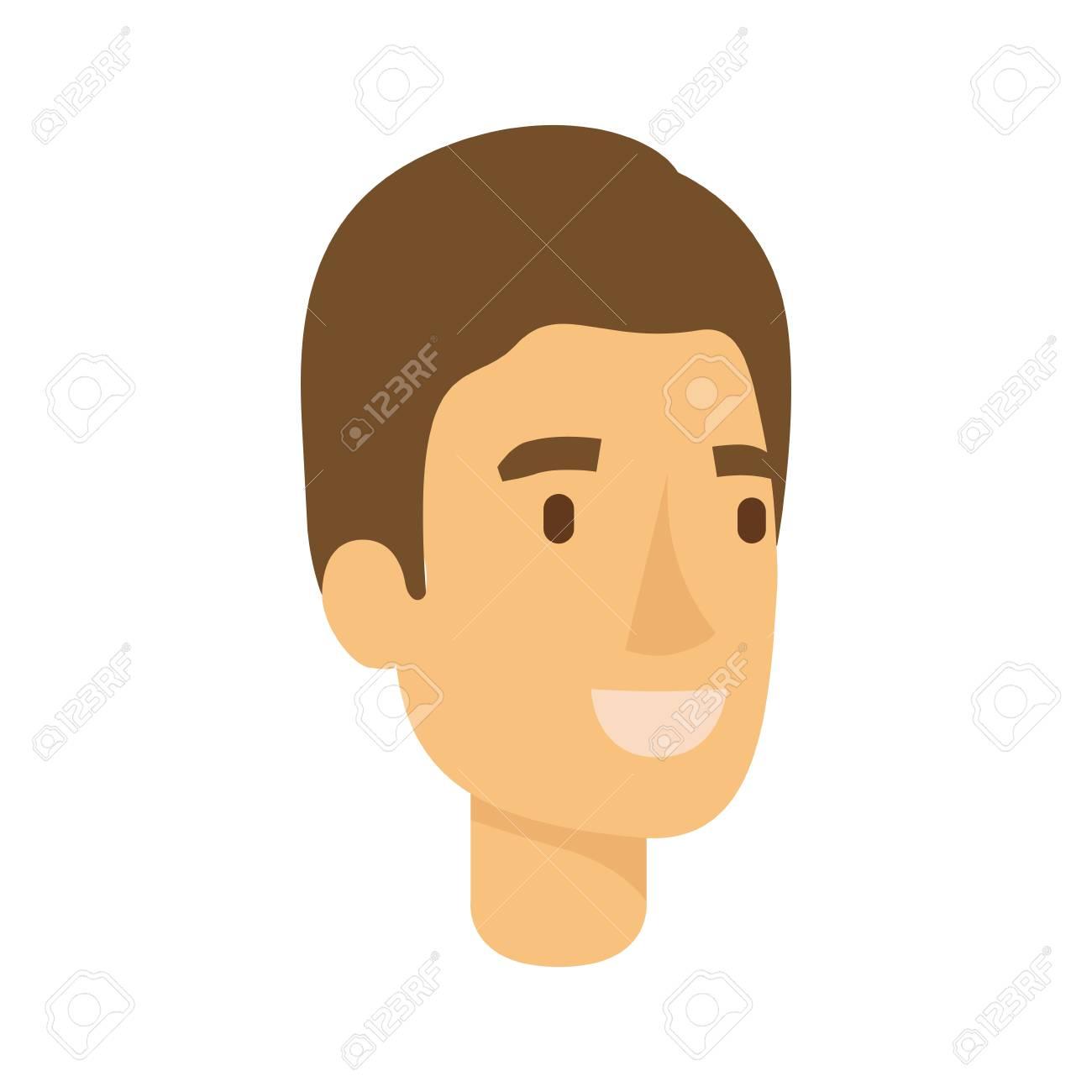Foto de archivo - Silueta colorida de la cara del hombre con el pelo castaño  claro y la ilustración de vector corto 88cf51c8f44