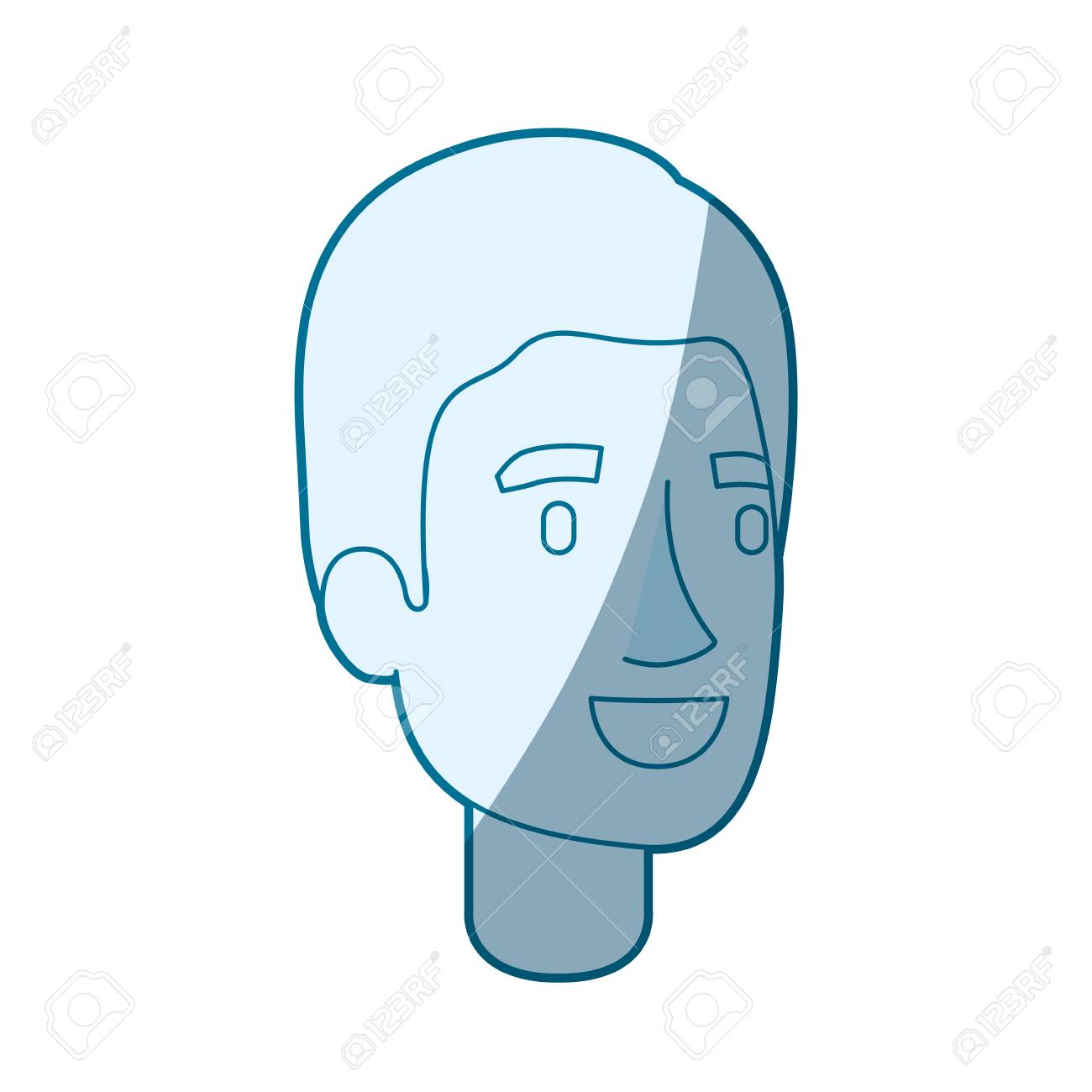 Blue Color Silhouette Shading Of Young Man Face With Simple Hair Royalty Free Cliparts Vectors And Stock Illustration Image 81481807