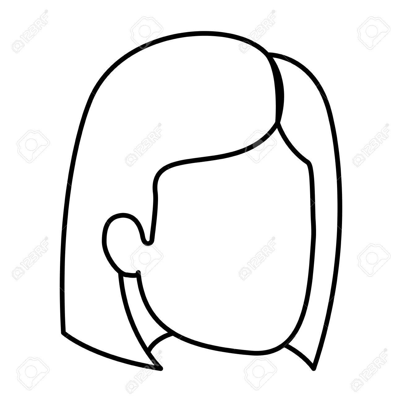女性の髪とマッシュ ルーム カットのベクトル イラストで顔のシルエット
