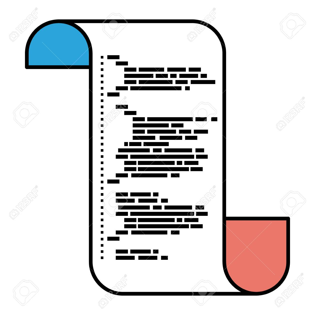 Silhouette Color Sections Of Continuously Sheet With Printed Source Code In Closeup Vector Illustration Stock