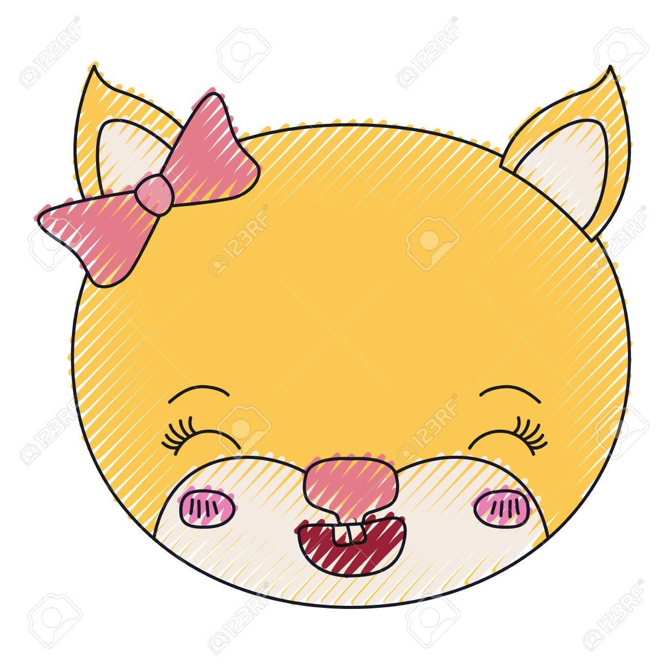 メス猫動物目を閉じてのクレヨン シルエット顔の色と幸福式ベクトル