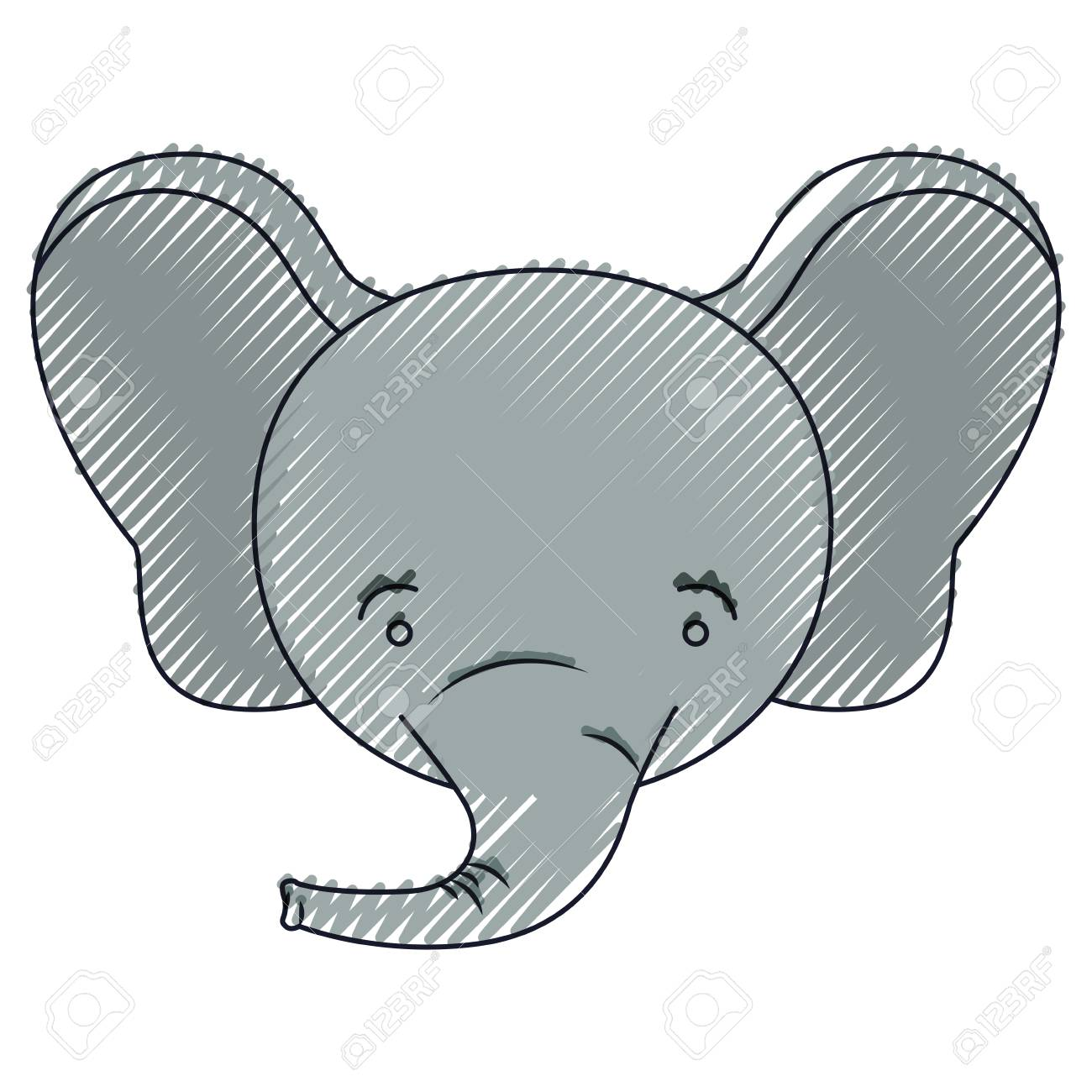 Color Crayon Silhouette Face Of Male Elephant Animal Happiness ...
