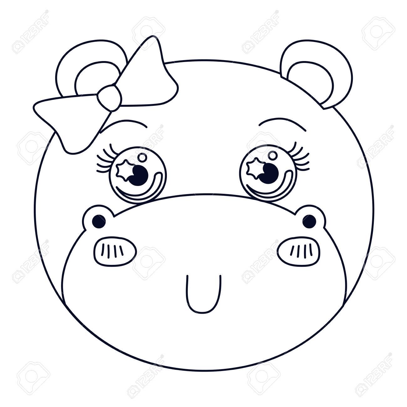 雌カバ動物かわいい式ベクトル イラストのシルエット似顔絵かおを