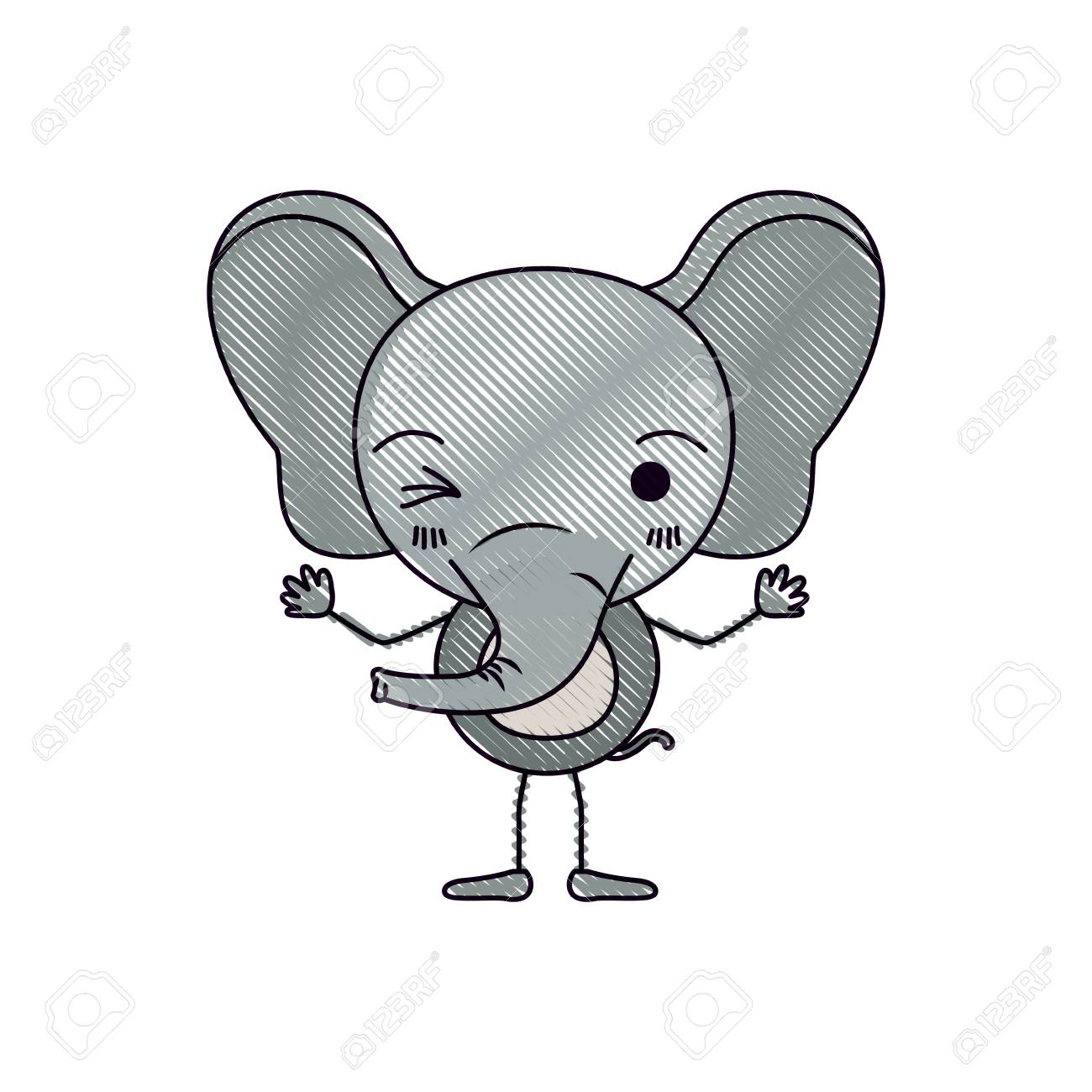 Color Crayon Silhouette Caricature Of Cute Elephant Wink Eye ...