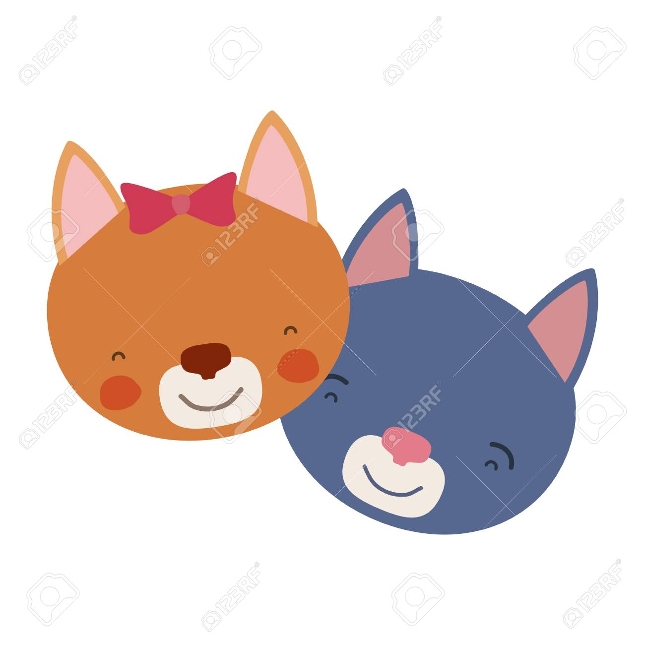 猫カップル動物のしあわせ度式ベクトル イラストのカラフルな似顔絵顔