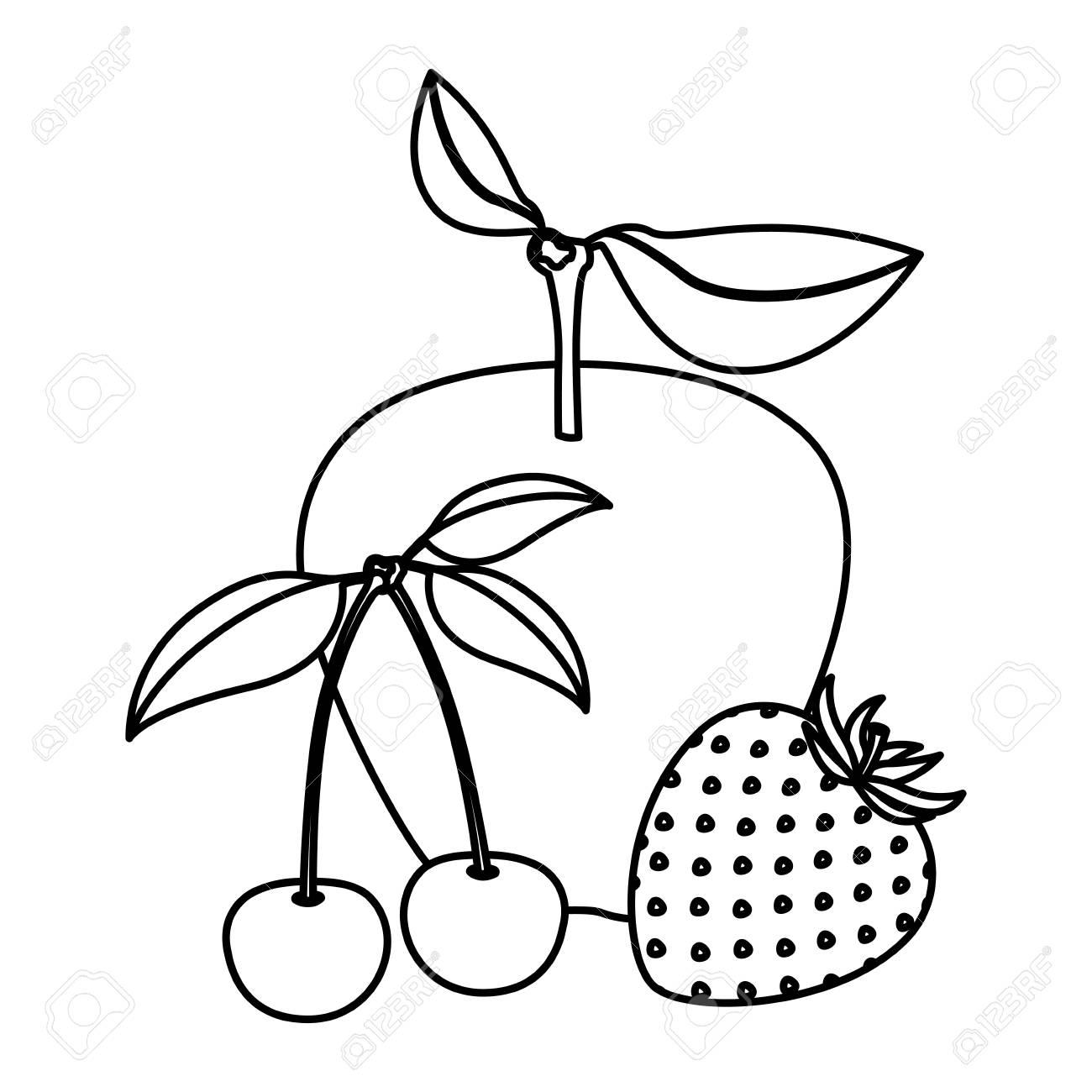 モノクロ果物リンゴさくらんぼイチゴのベクトル図の白い背景の