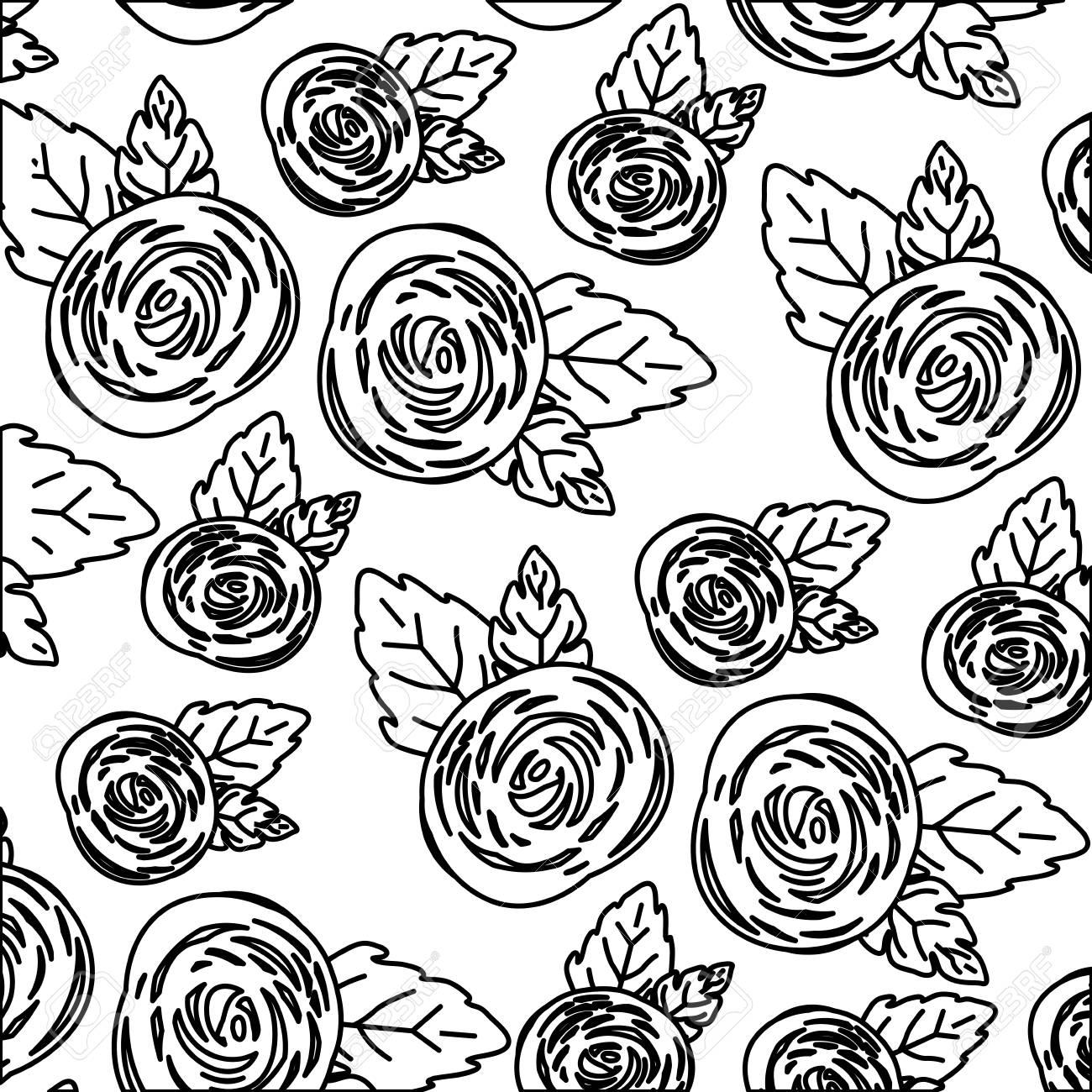 バラの花ベクトル イラストの白黒パターンで白い背景のイラスト素材