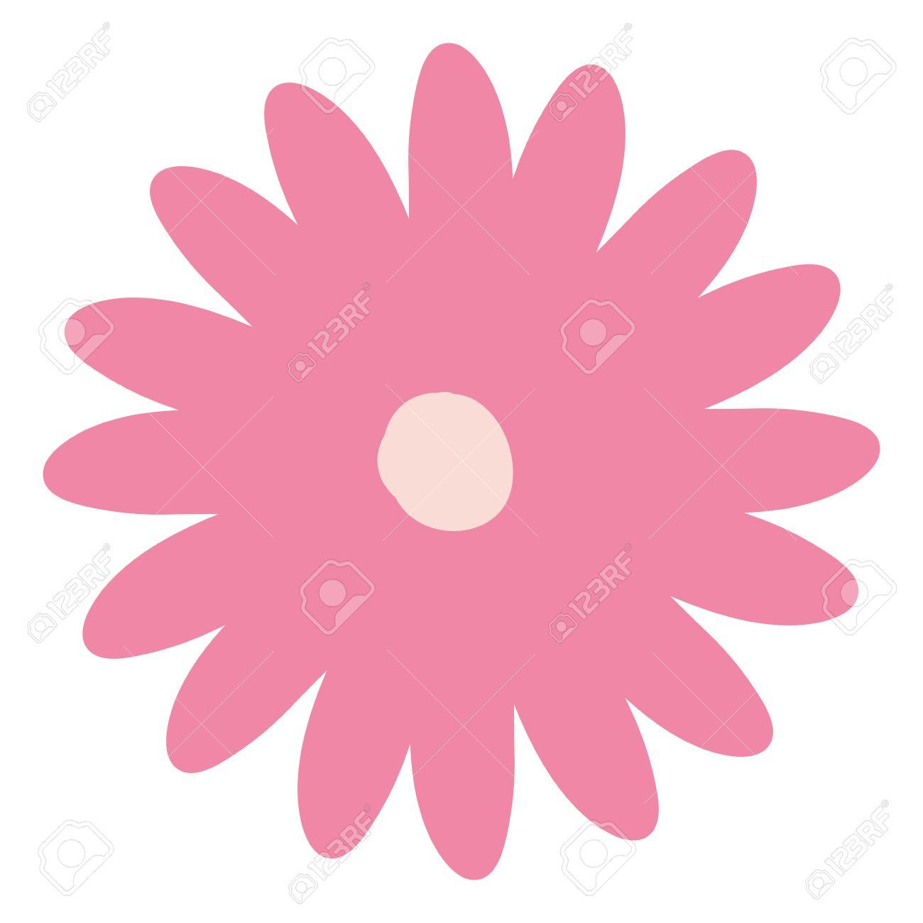 Main Dessin Rose Couleur Daisy Fleur à Plusieurs Pétales Vecteur Illustration