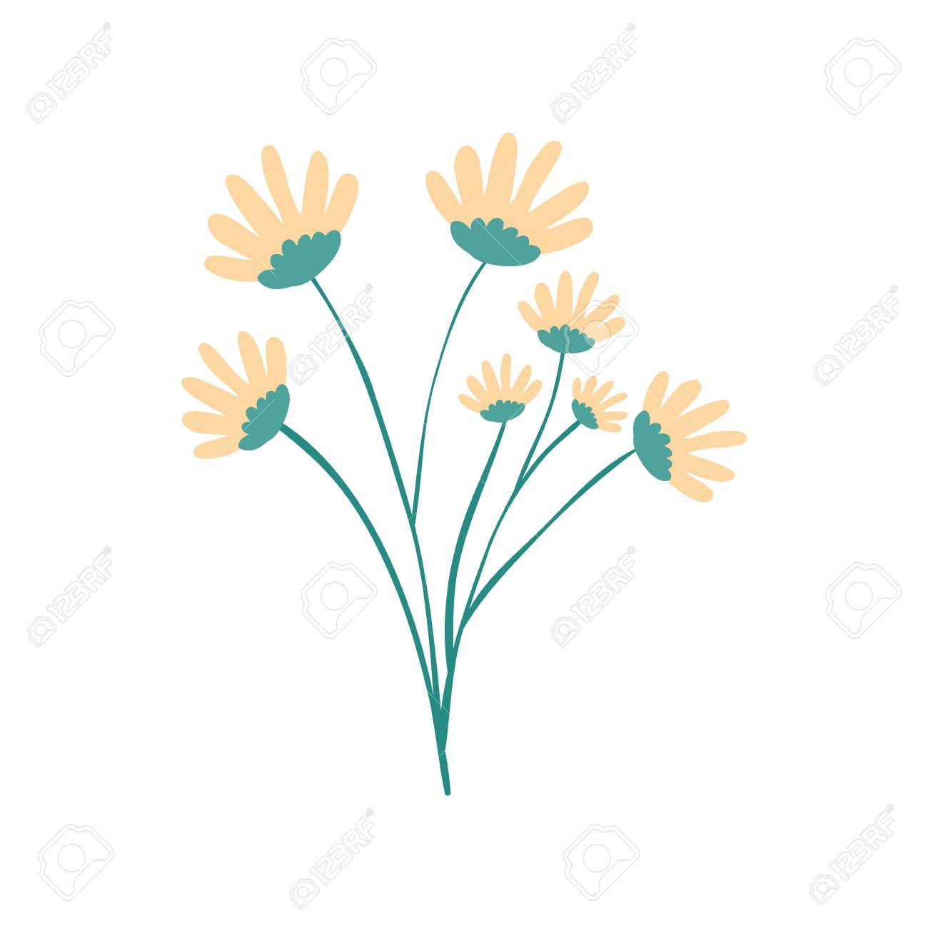 Hand Drawing Yellow Color Daisy Flower Bouquet With Several ...