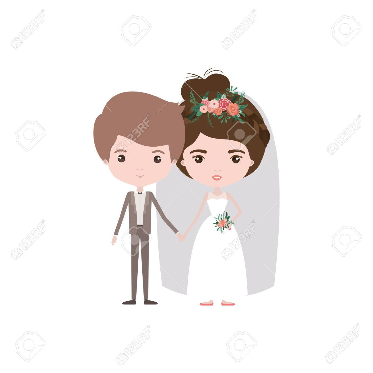 Colorful Caricature Newly Married Couple Groom With Formal Wear