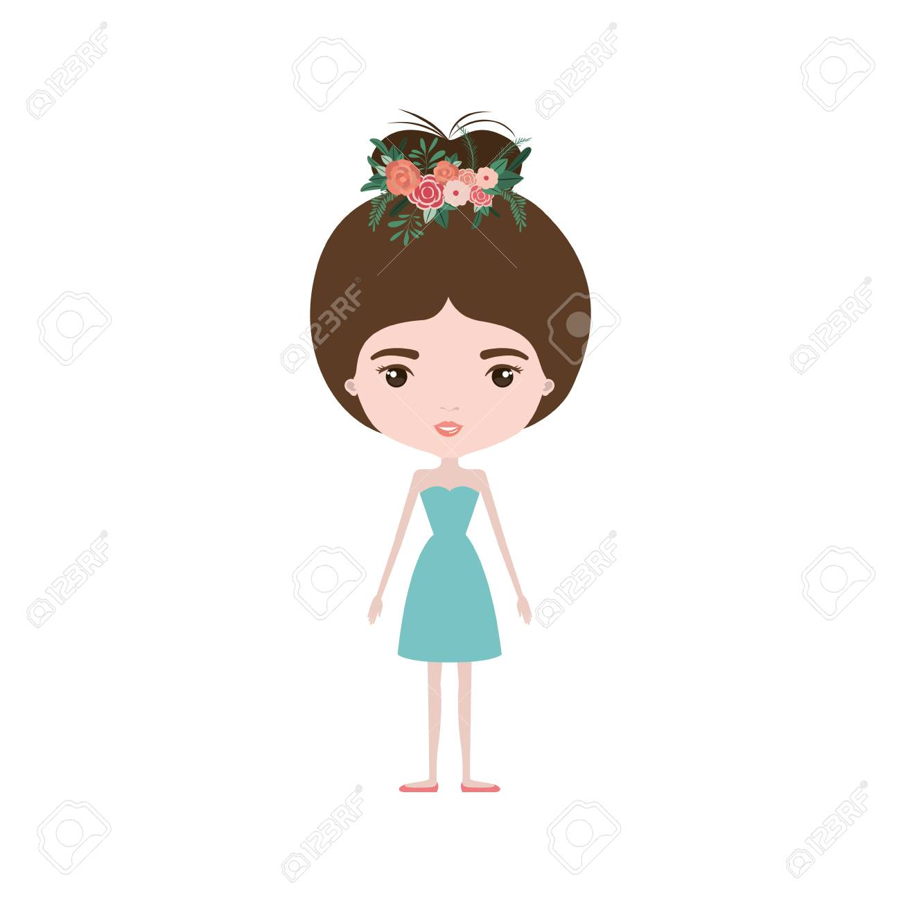 Colorful caricature skinny woman in dress with bun collected colorful caricature skinny woman in dress with bun collected hairstyle and flower crown accesory vector illustration izmirmasajfo