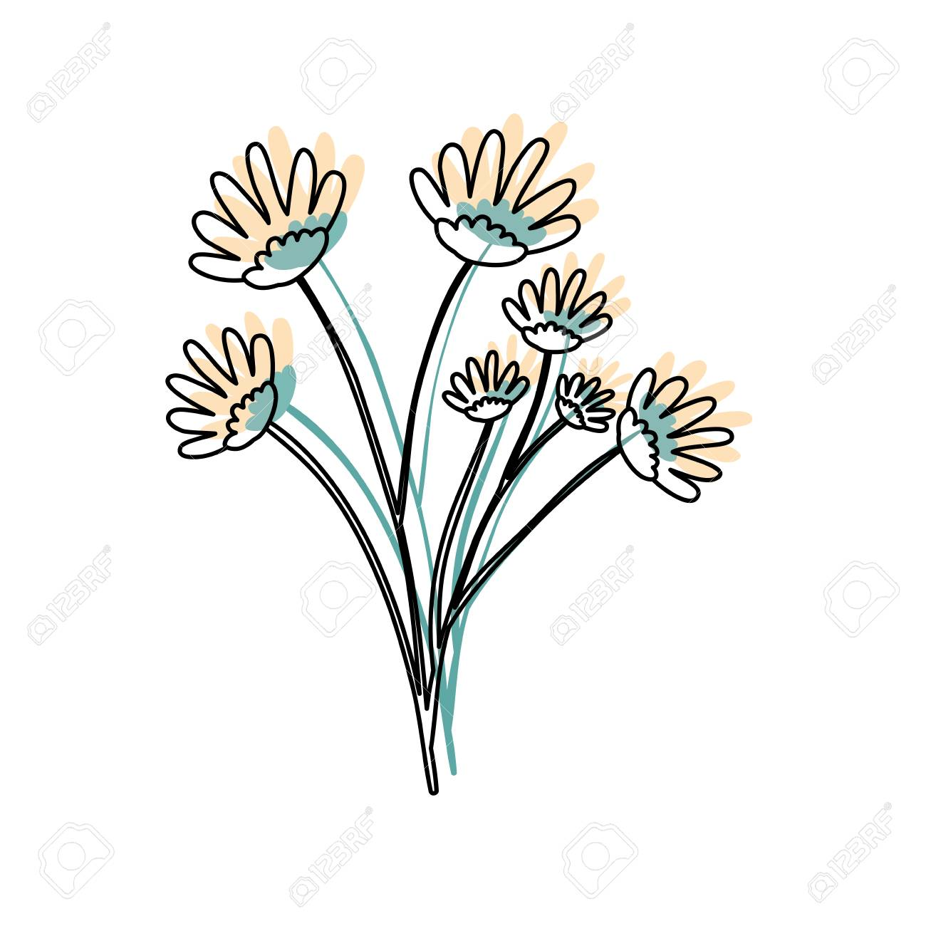 Watercolor silhouette of hand drawing yellow daisy flower bouquet vector watercolor silhouette of hand drawing yellow daisy flower bouquet with several ramifications vector illustration izmirmasajfo