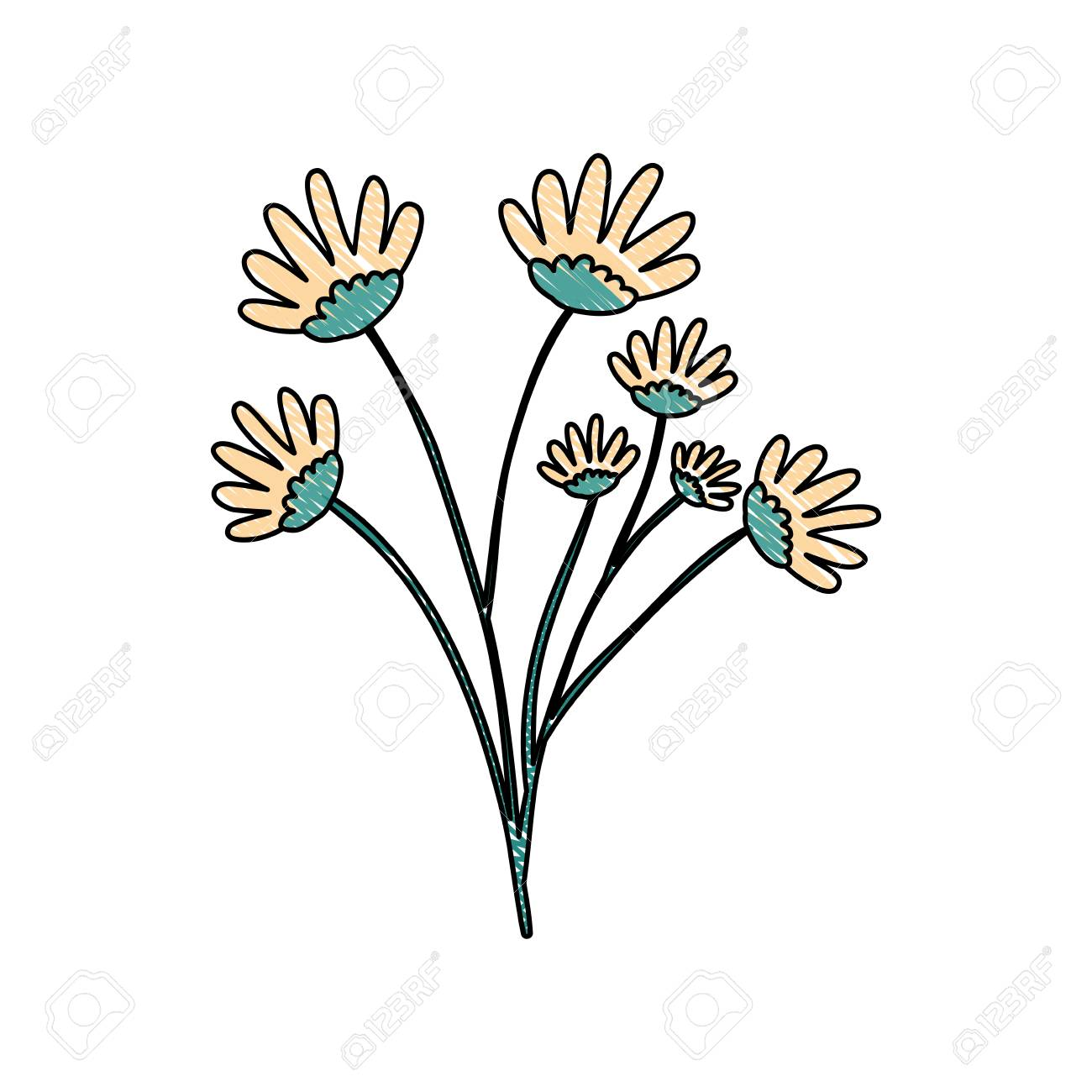 Crayon Silhouette Of Hand Drawing Yellow Color Daisy Flower Bouquet ...
