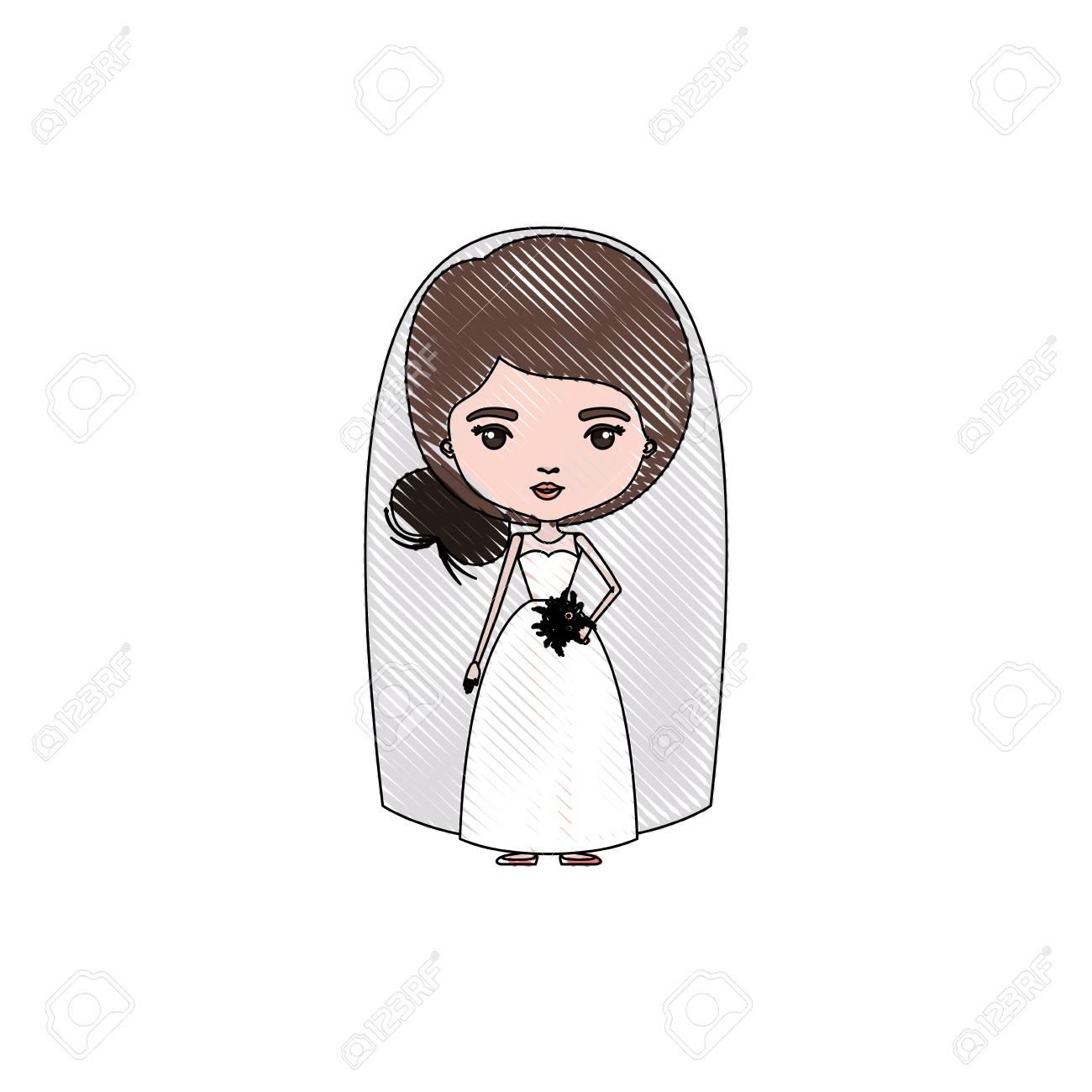 写真素材 , 色クレヨン シルエット似顔絵パン側髪型ベクトル図とウェディング ドレスでかわいい女性