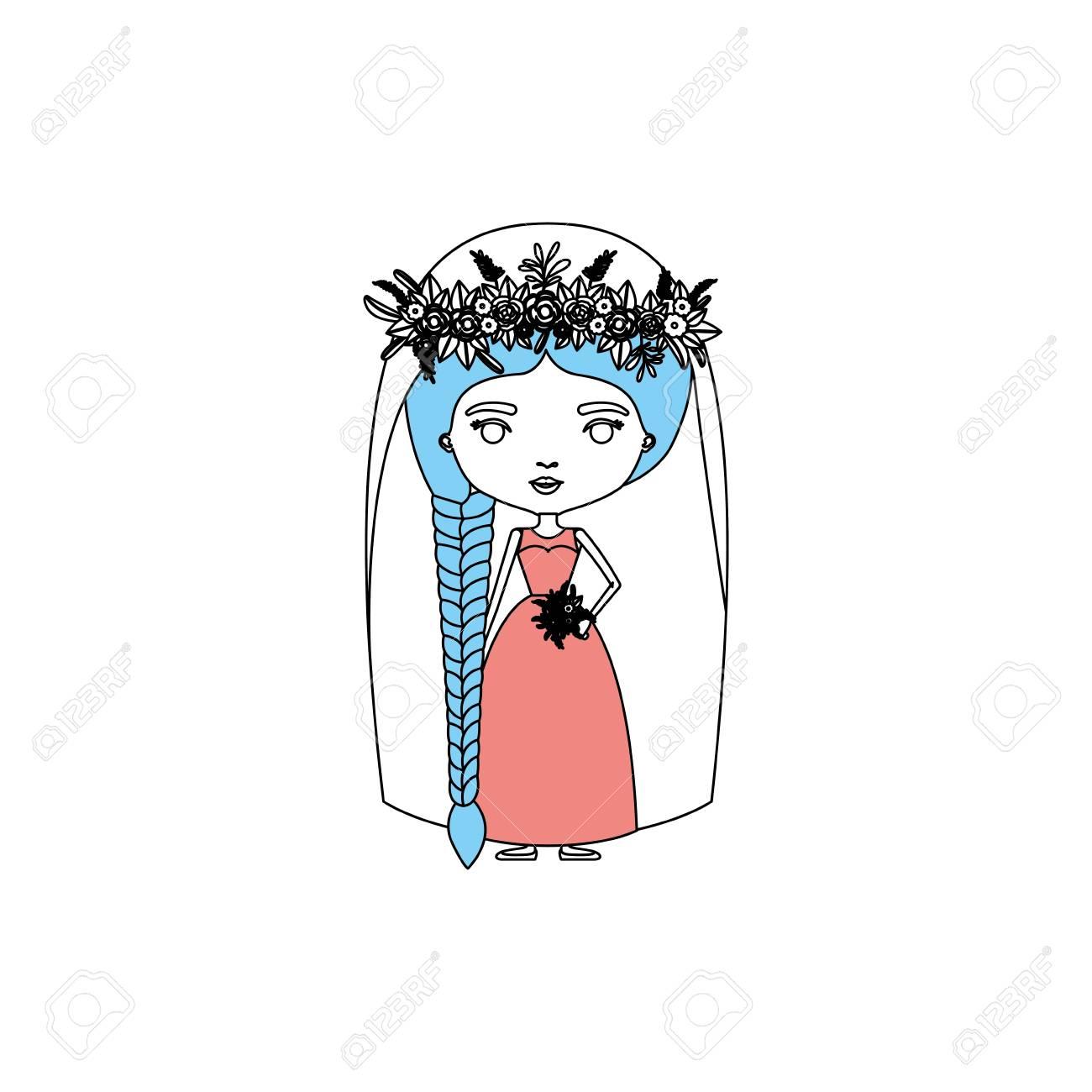 三つ編み髪型のベクトル図とウェディング ドレスでかわいい女性の色似顔絵