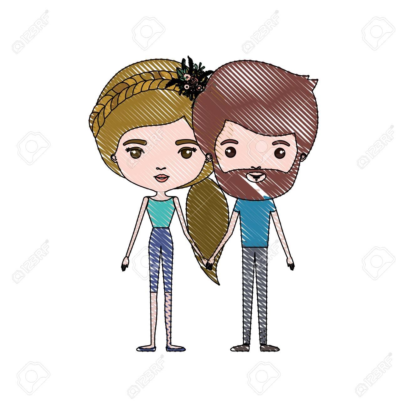 パンツと金髪ポニーテールの髪型と花の王冠アクセサリー ベクトル