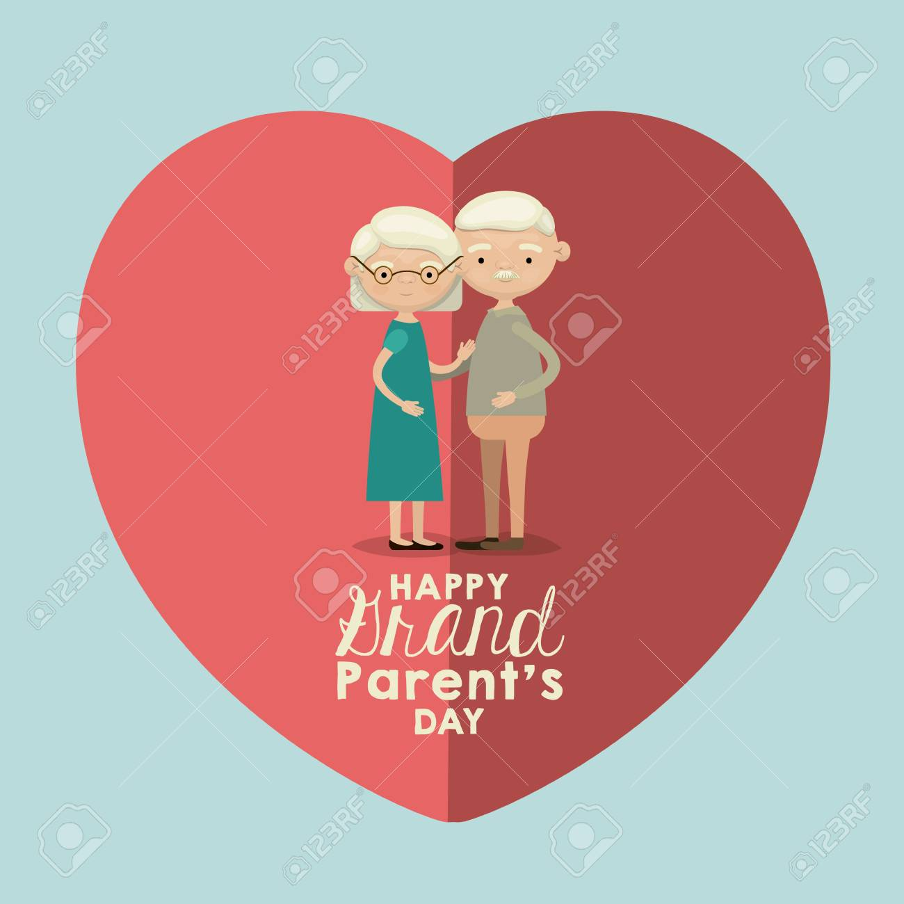 Light Blue Color Background Of Heart Shape Pink Greeting Card