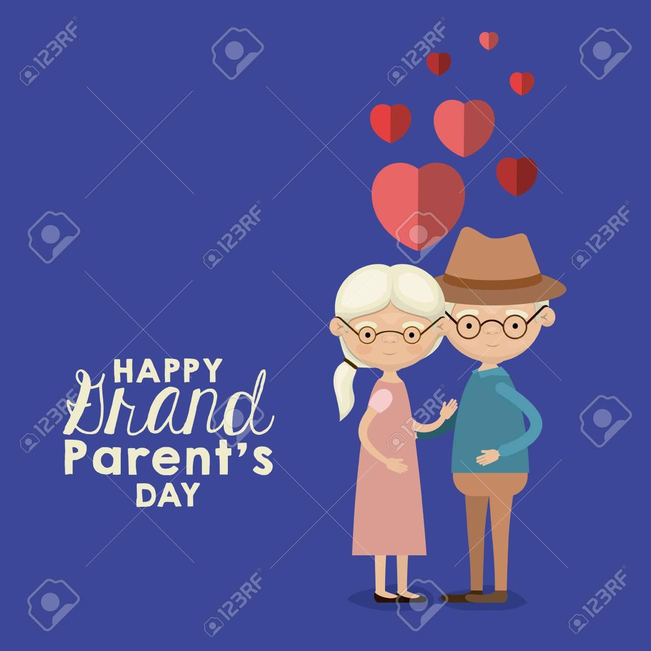 Blaue Farbe Hintergrund Mit Karikatur Ganzkörper ältere Paar Umarmte ...