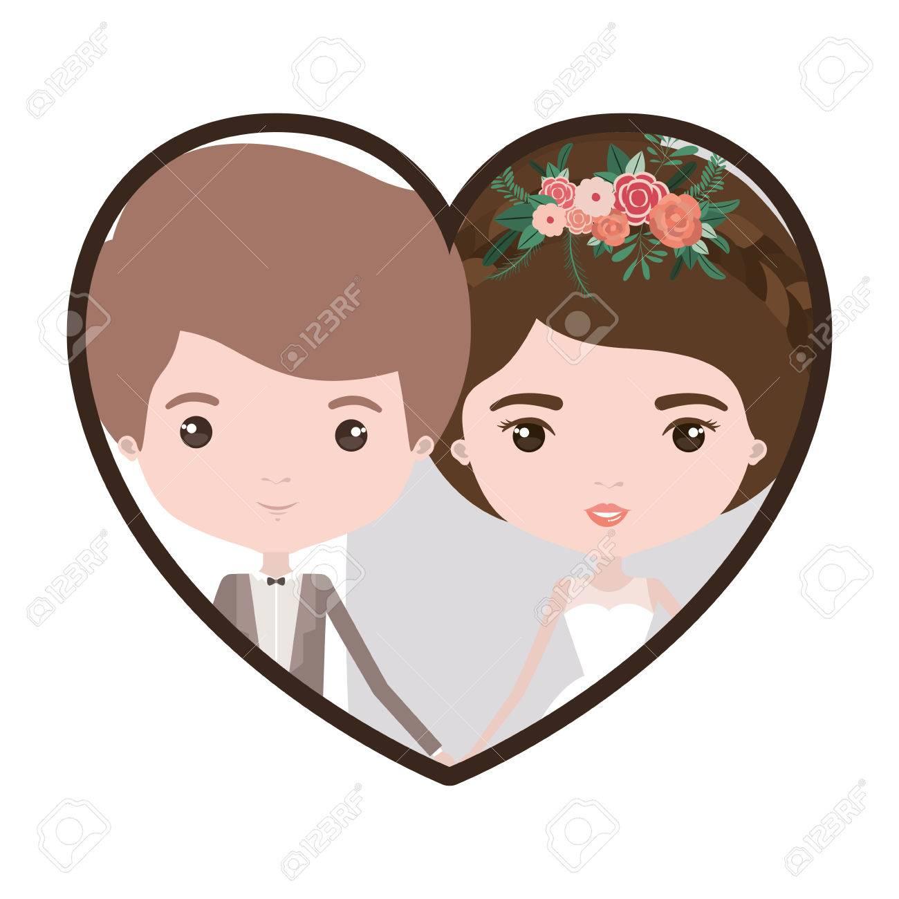 Colorido Forma De Corazón Retrato Con Caricatura Novio Recién Casado ...
