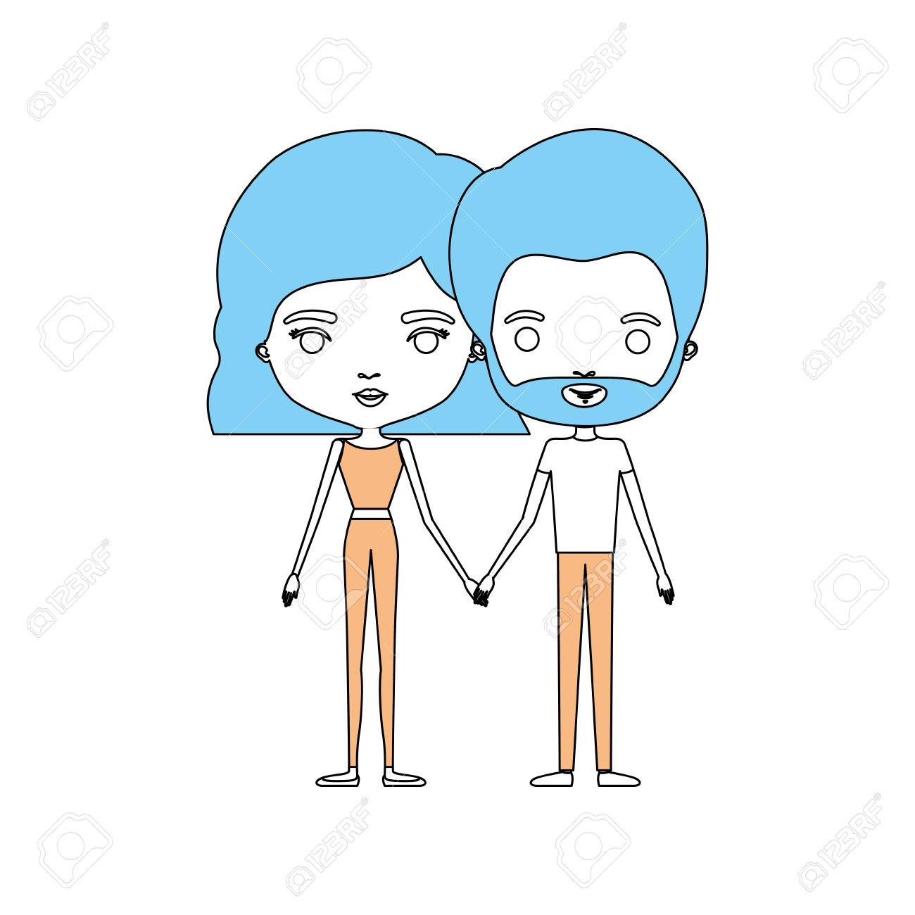Color Sections Silhouette Caricature Thin Couple In Clothes Of Bearded Man And Woman With Wavy Short