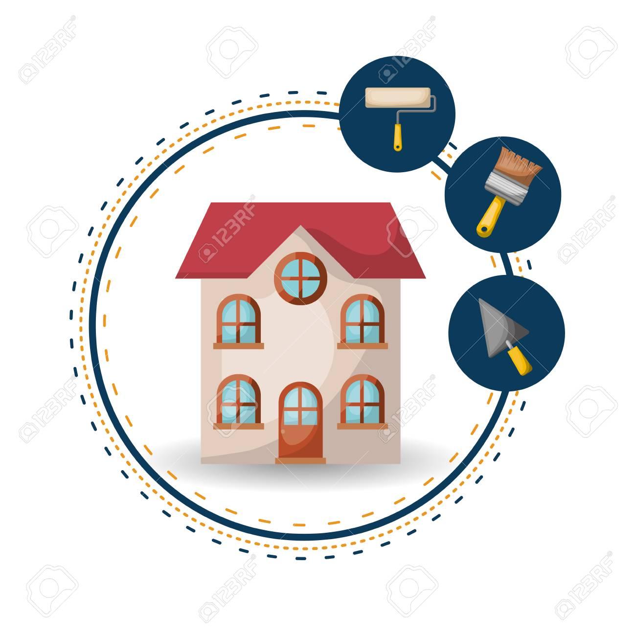 Haus Mit Kreisförmigen Rahmen, Malerei Und Renovierung Symbol ...