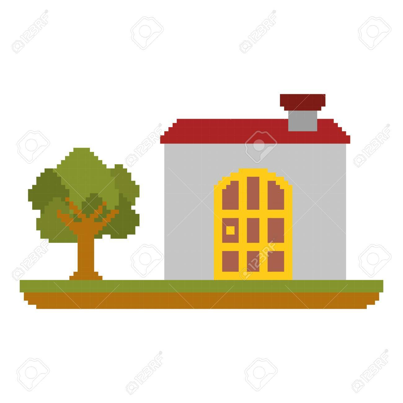 colorful pixelated house in meadow with tree vector illustration rh 123rf com