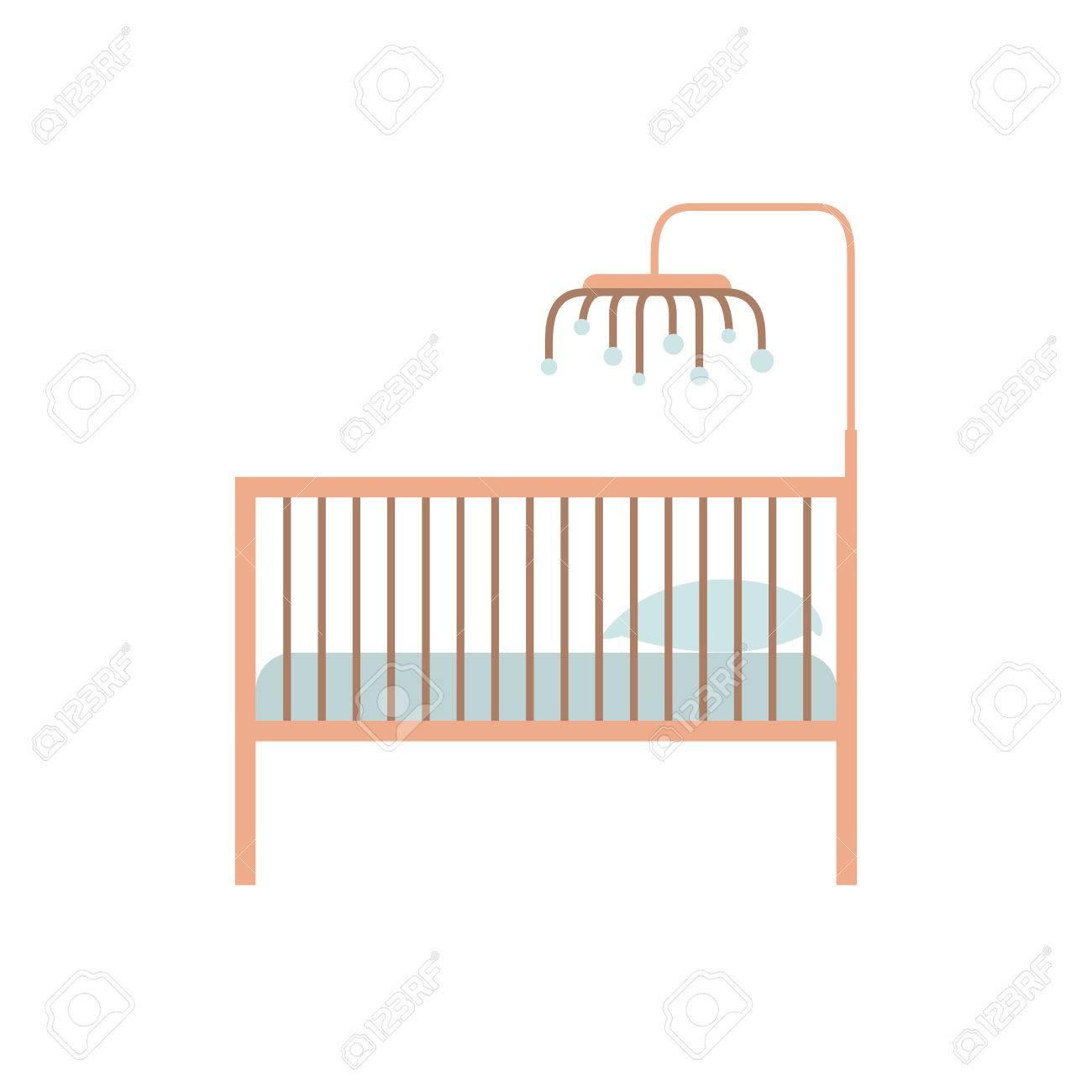 Silueta De Color De La Cuna De Bebé Con Barandilla De Madera ...
