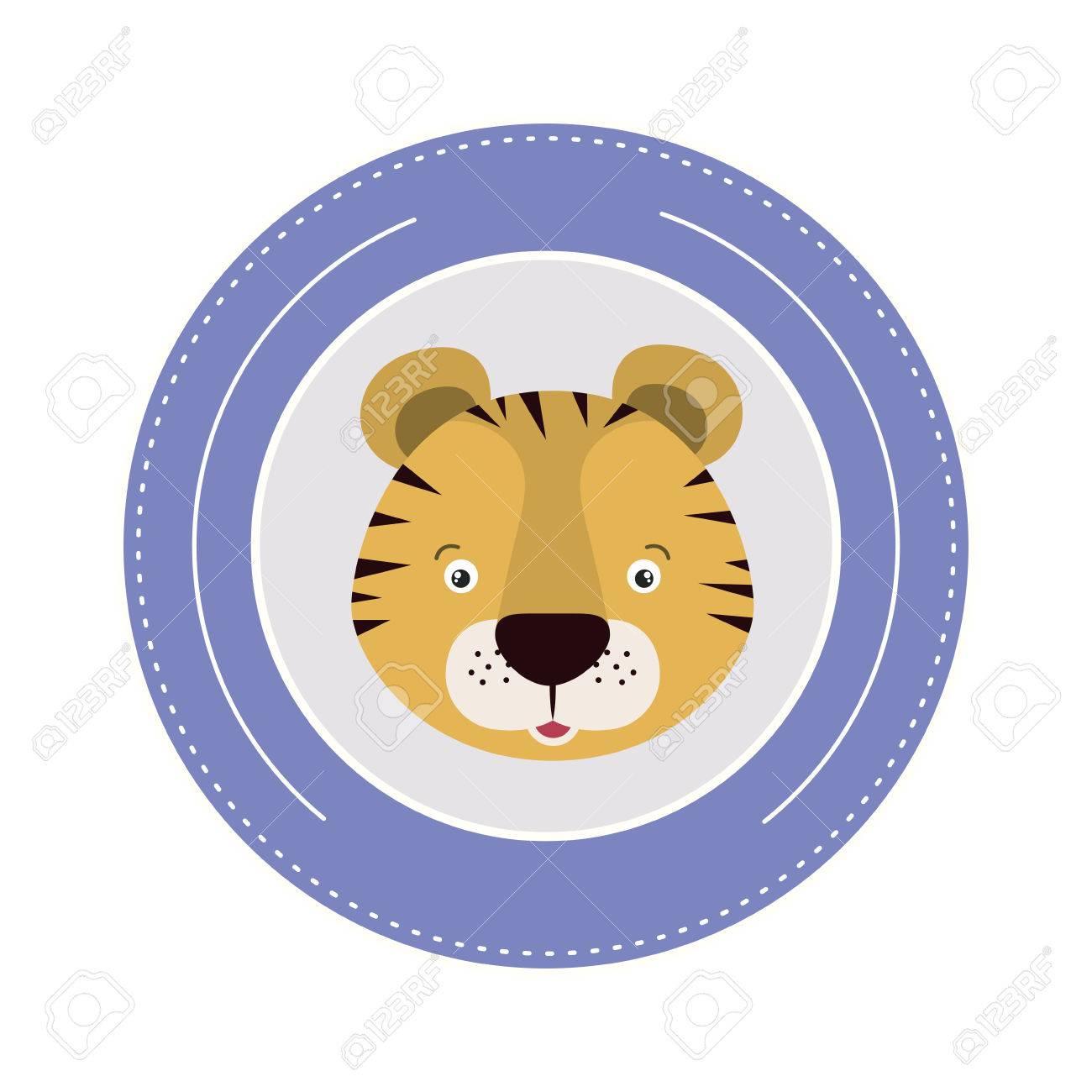 Weißer Hintergrund Mit Farbe Rahmen Dekorative Und Gesicht Tiger ...