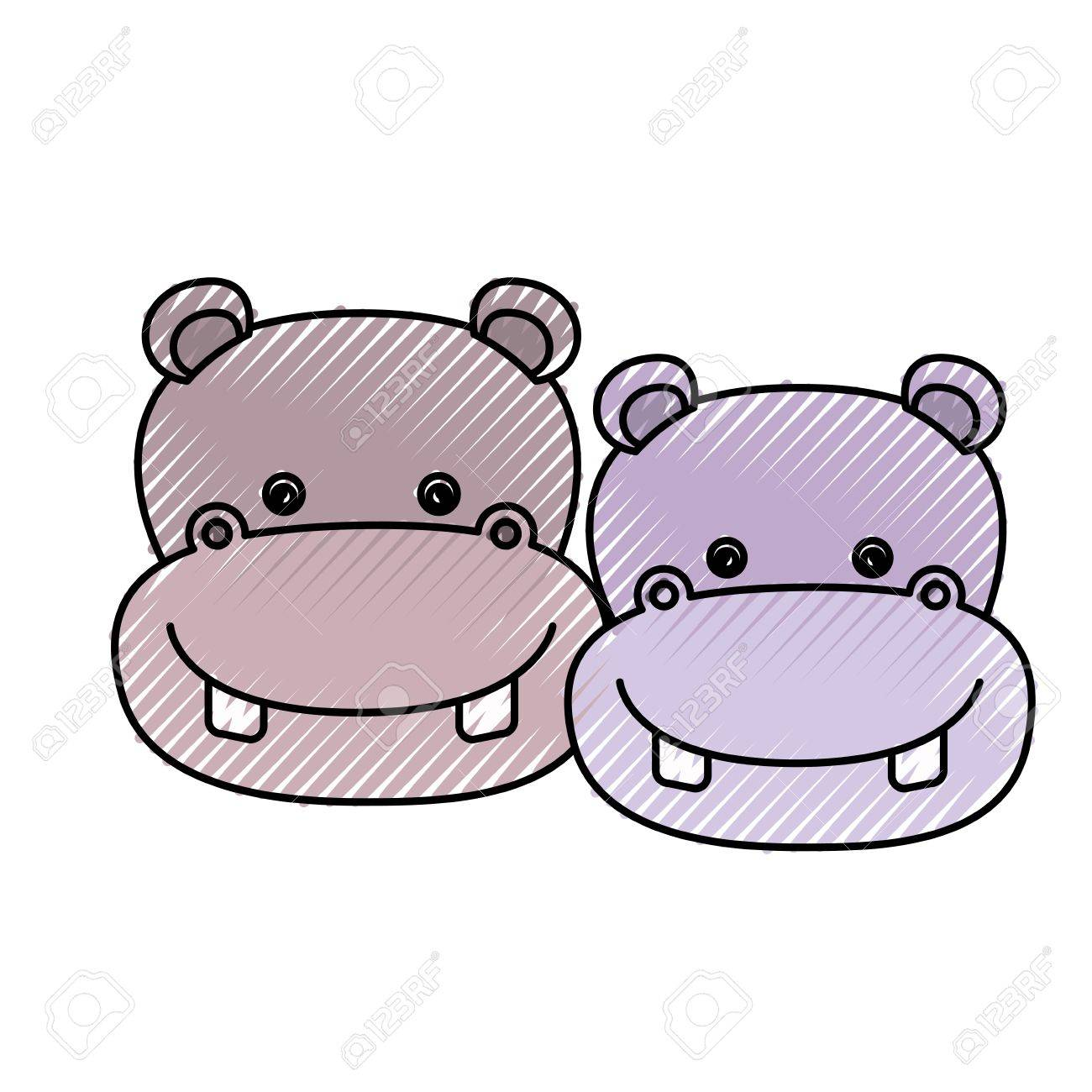 色クレヨン シルエット似顔絵顔カップルかわいい動物カバ ベクトル イラストのイラスト素材 ベクタ Image 84427681
