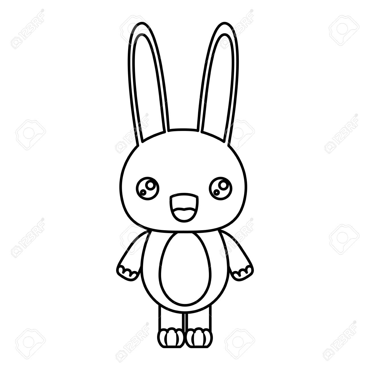 ウサギ動物のベクトル イラストの似顔絵かわいい驚き表情のシルエットを