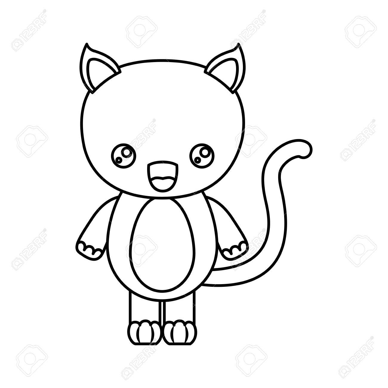 猫動物のベクトル イラストの似顔絵かわいい驚き表情のシルエットを