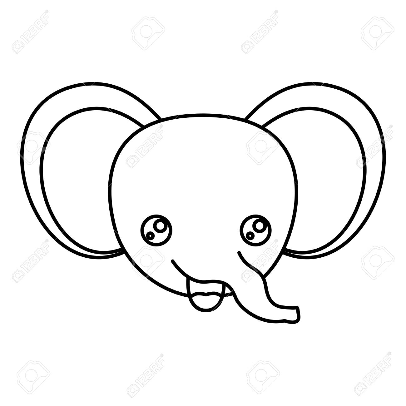 Sketch Silhouette Of Kawaii Caricature Face Elephant Cute Animal
