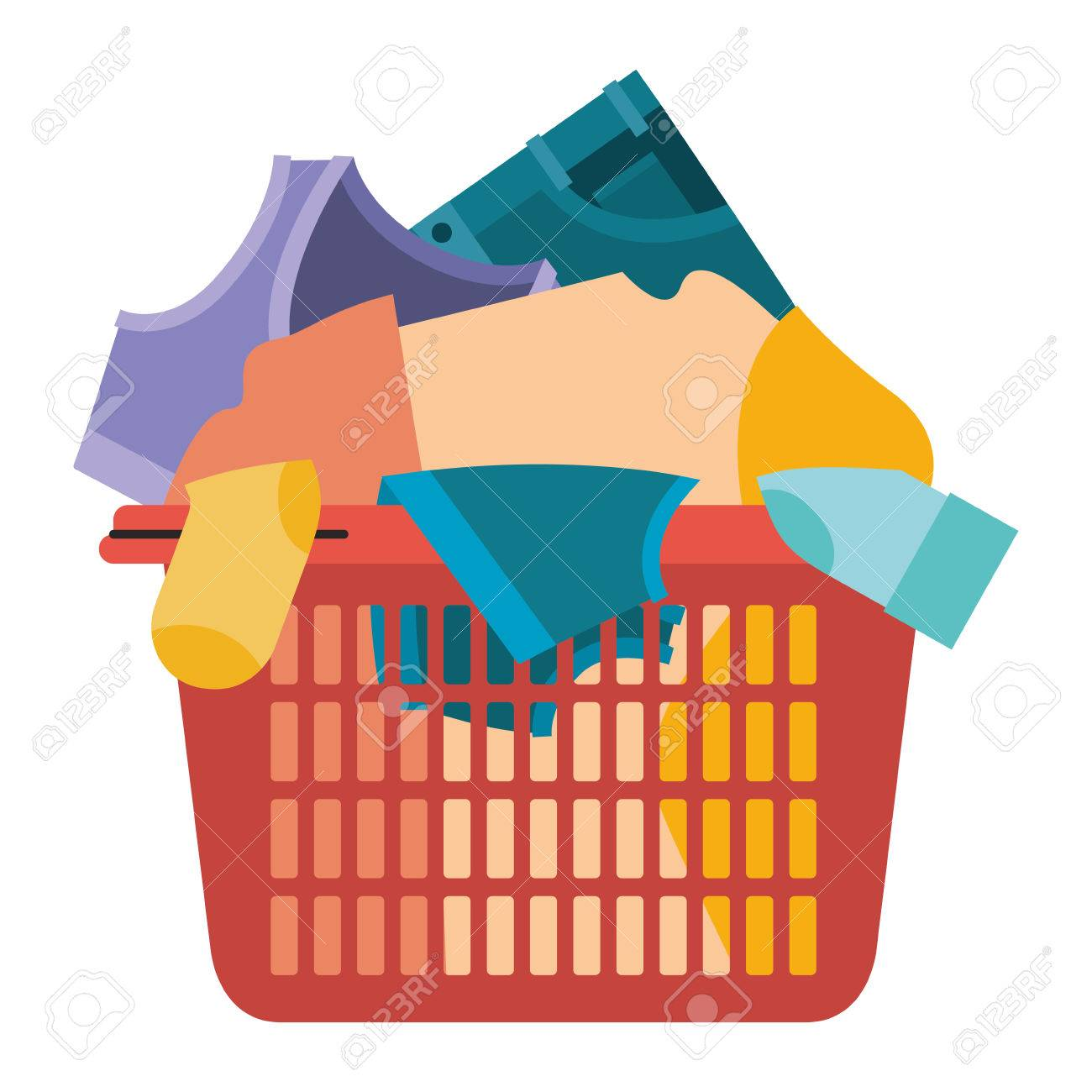 colorful silhouette of laundry basket with heap of clothes vector
