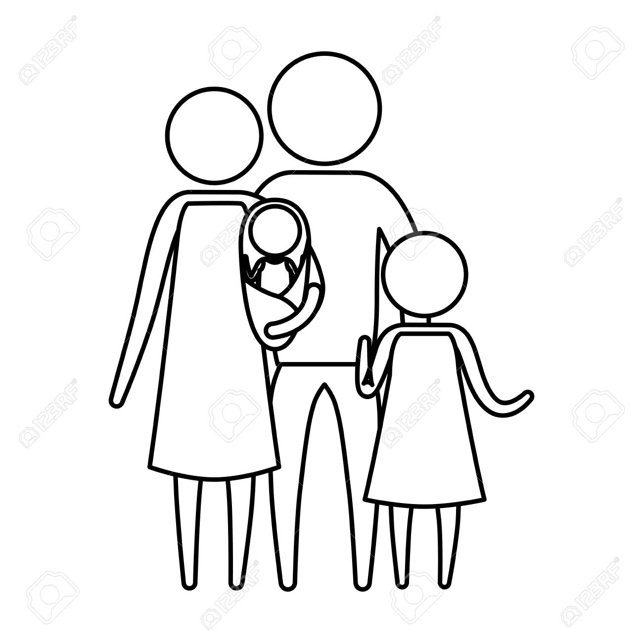 Sketch Silhouette Of Pictogram Parents With A Baby And Little