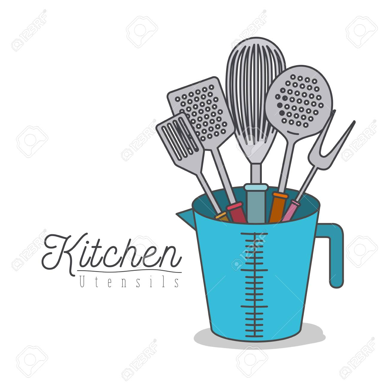 White Background With Colorful Set Kitchen Utensils In Jar Vector ...