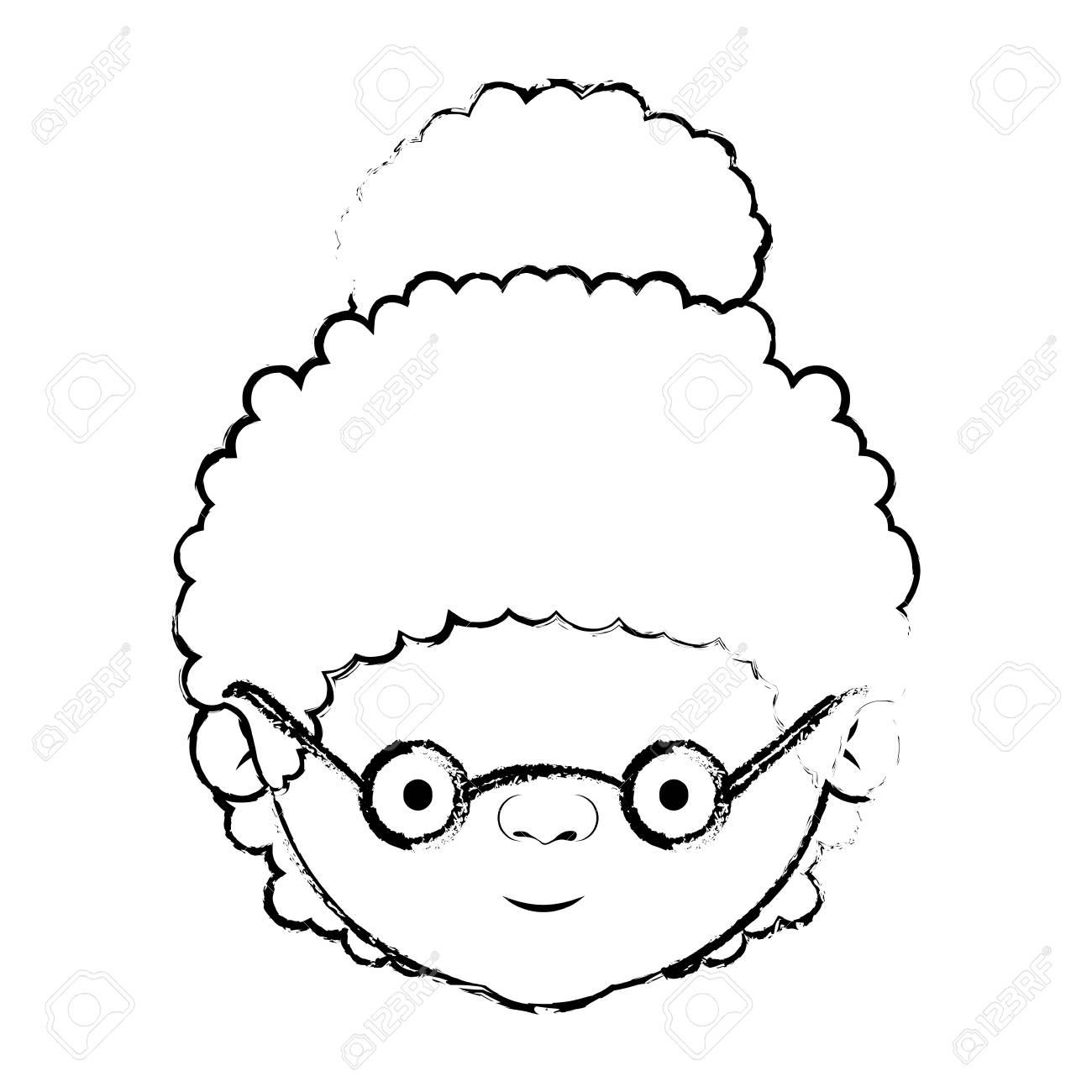 巻き毛のお団子髪とメガネ ベクトル イラスト顔祖母のぼやけたシルエット