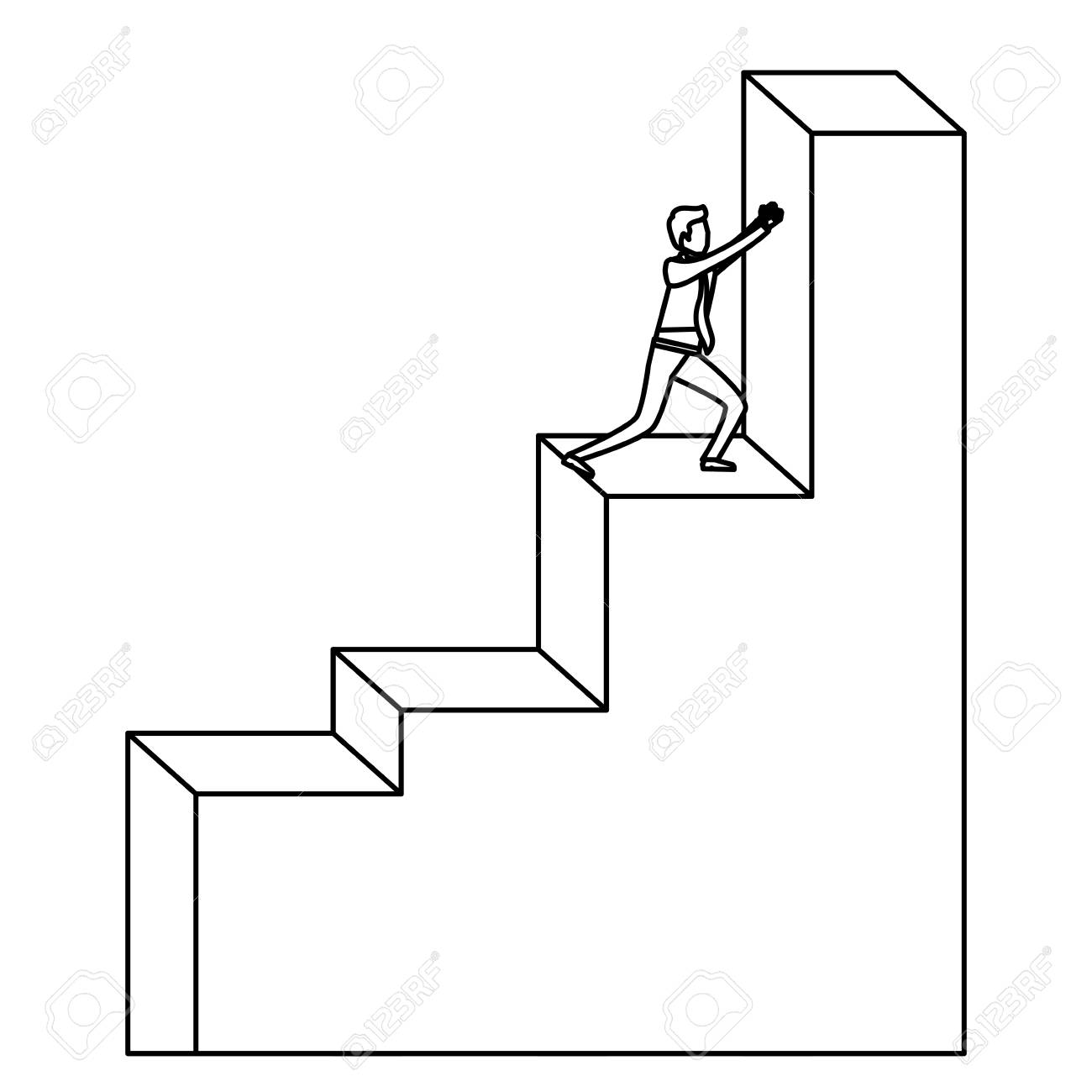 Businessman Pushing Stair Block Structure Sketch Silhouette In White  Background Vector Illustration Stock Vector   85056401