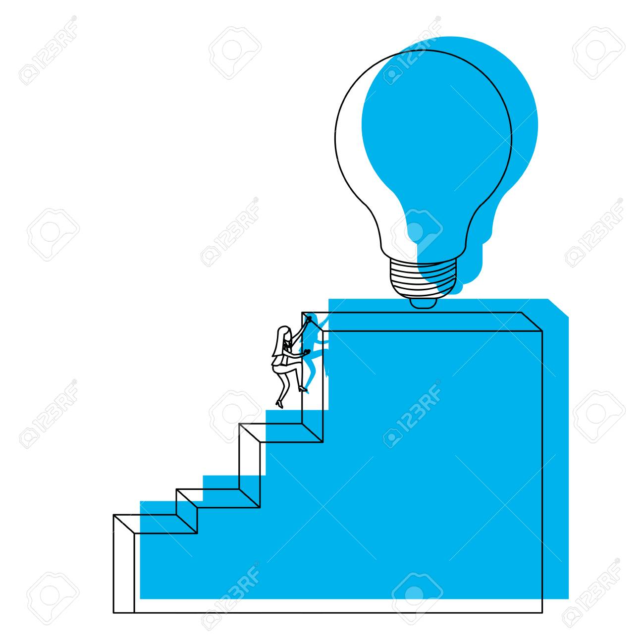 Businesswoman Climbing Stair Block Structure With Light Bulb In The Top  Blue Watercolor Silhouette Vector Illustration