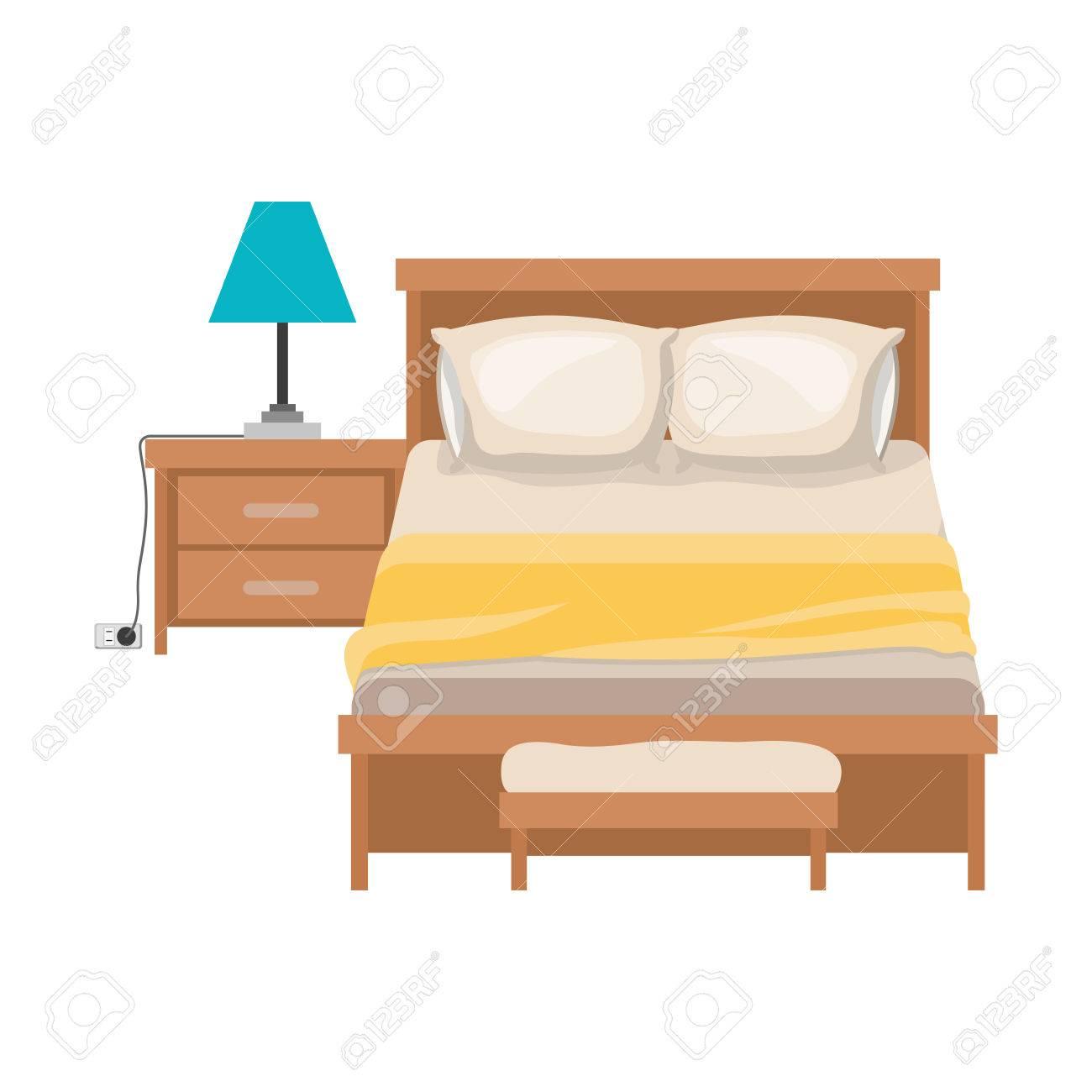 Chambre Coucher Vectorielle Avec Table De Illustration Chevet Blanc Colorée Sur À Silhouette Fond Lampe En UzSpGqMV
